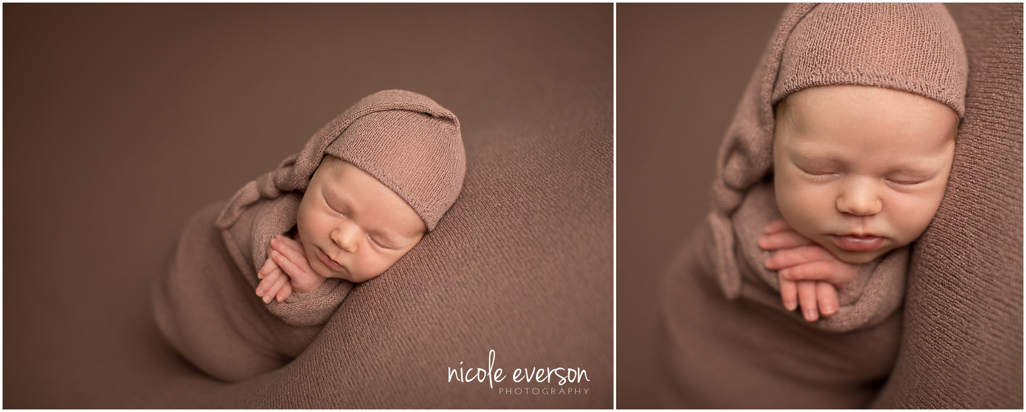 newborn photographer tallahassee photographed this newborn on a backdrop with a matching wrap