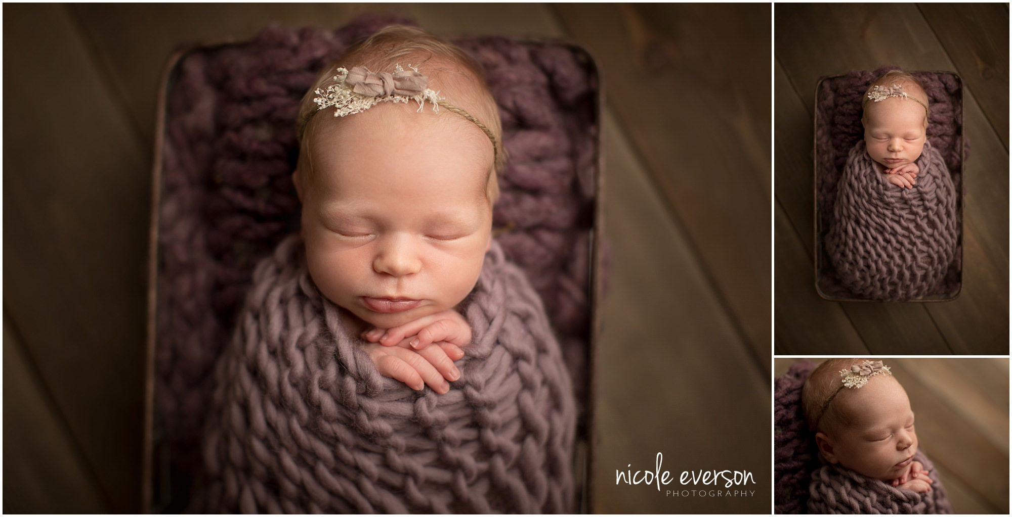 newborn photo in a vintage box, with purple knit wrap photography by Nicole Everson Photography