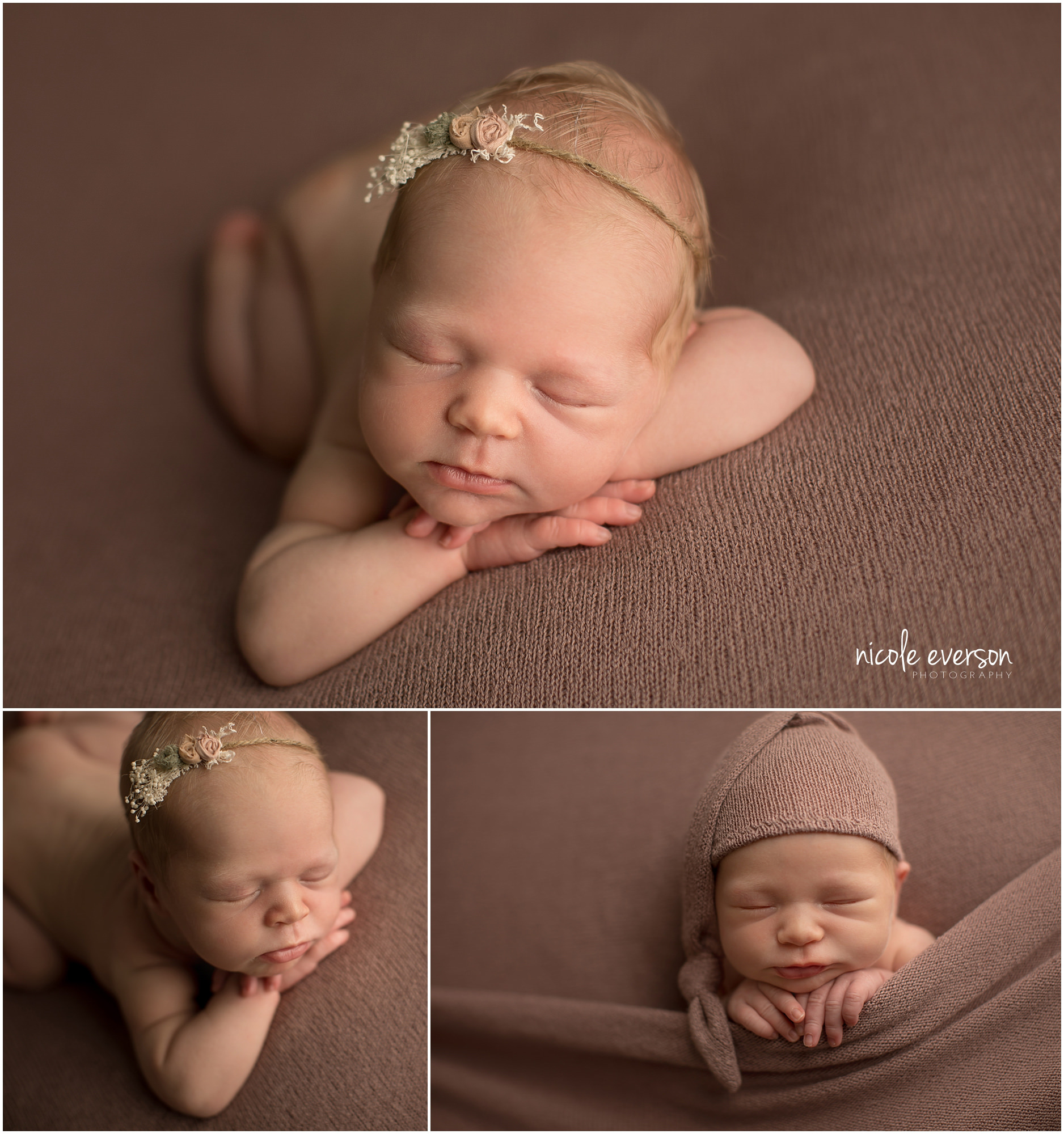 newborn baby girl photographed on a mauve backdrop Tallahassee newborn photography studio
