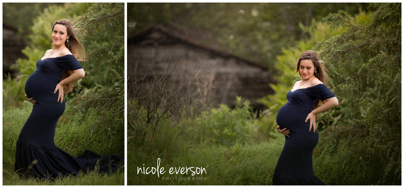maternity pictures taken outside in Tallahassee in a dark blue maternity gown