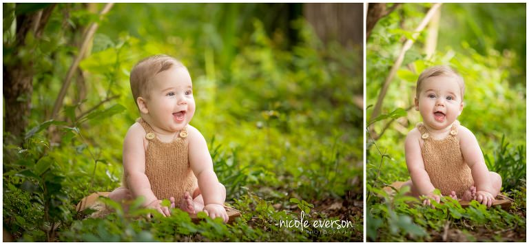 6 month old baby photographed outside in Dothan
