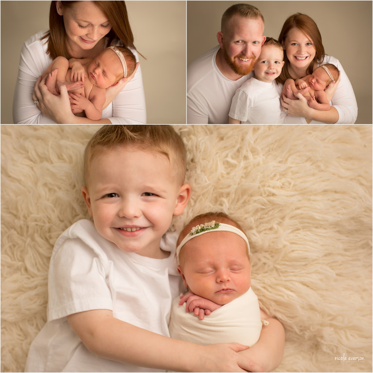 newborn photograph with sibling and newborn parents portrait