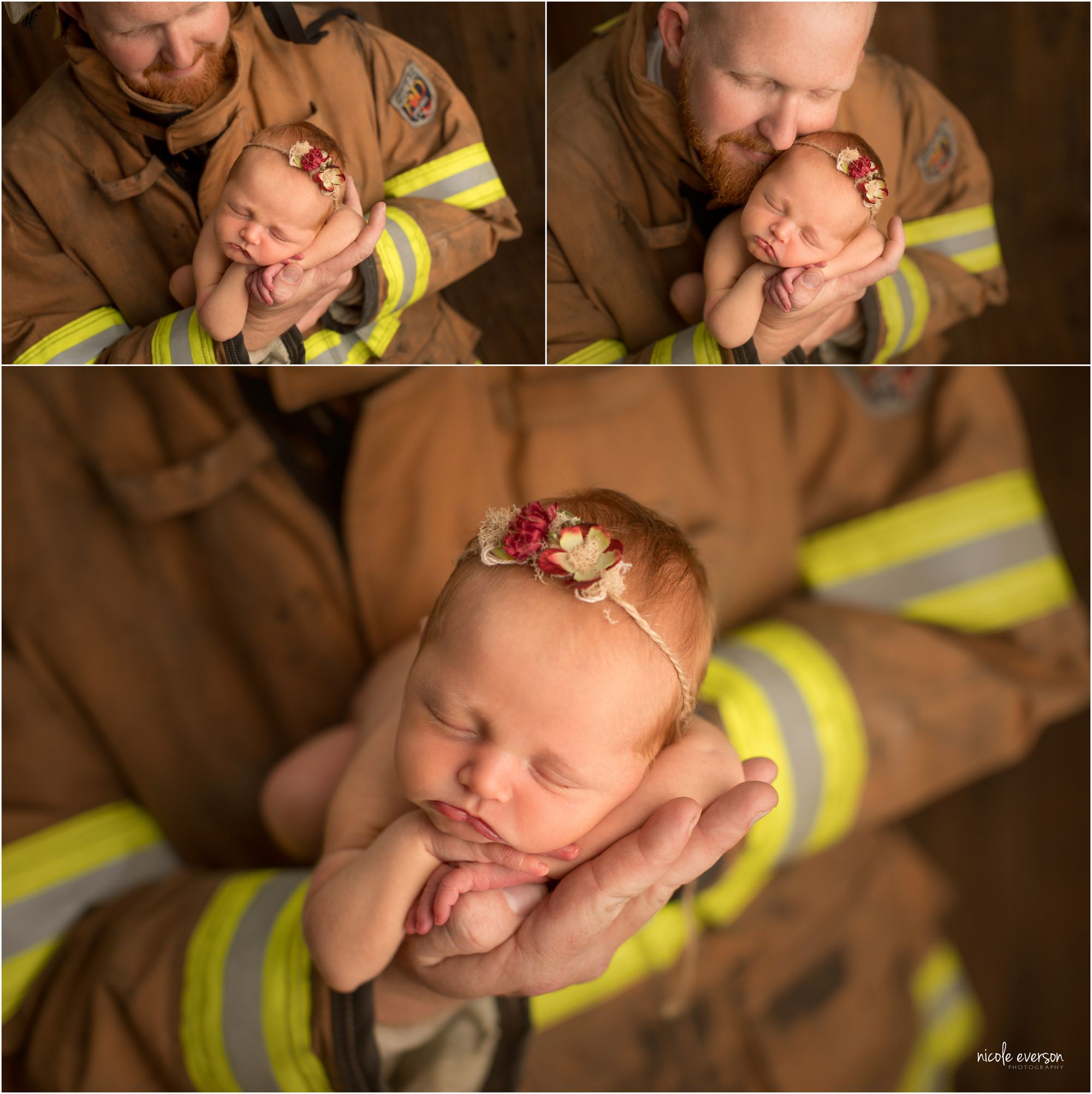 firefighter newborn pictures with Nicole Everson Photography