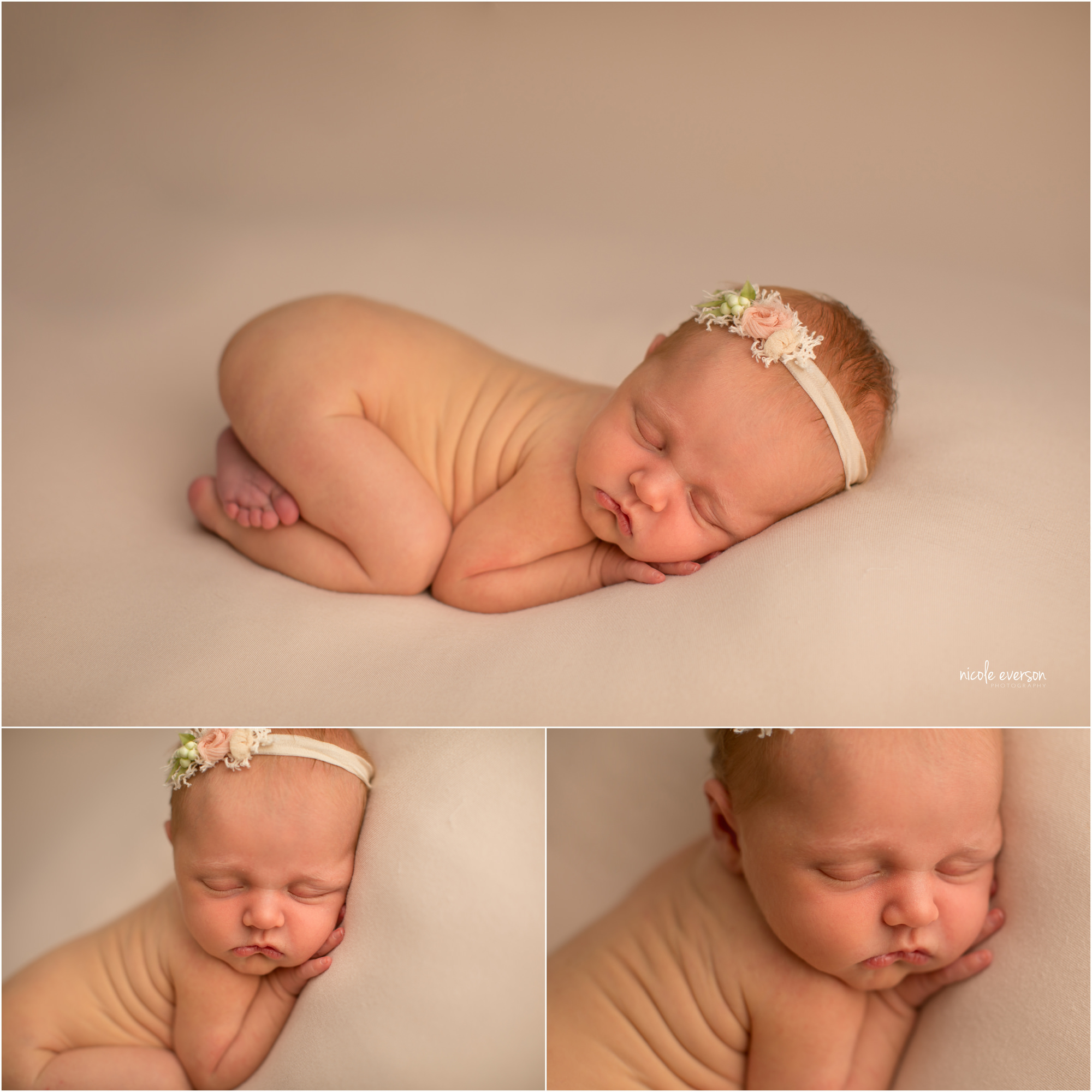 newborn baby girl photographed at Nicole Everson Photography Tallahassee Florida portrait studio