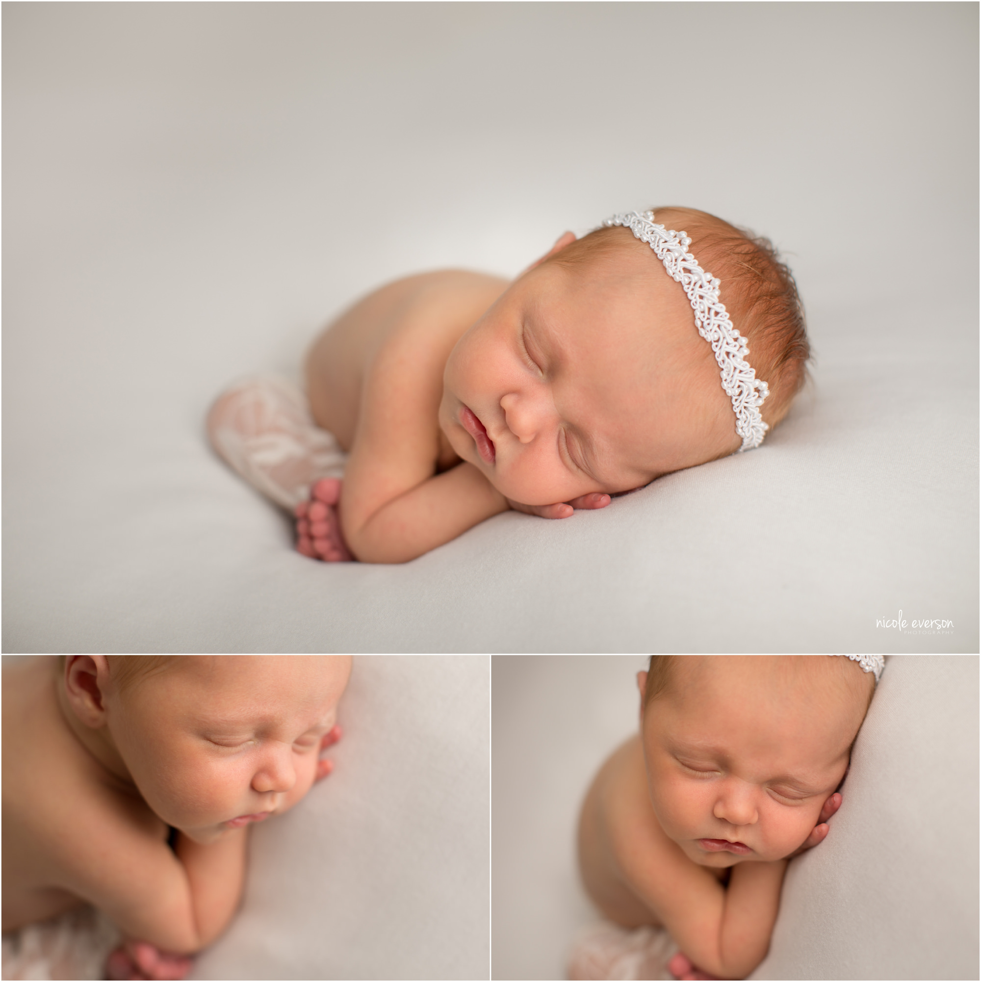 stunning portrait of a baby girl sleeping on a white backdrop