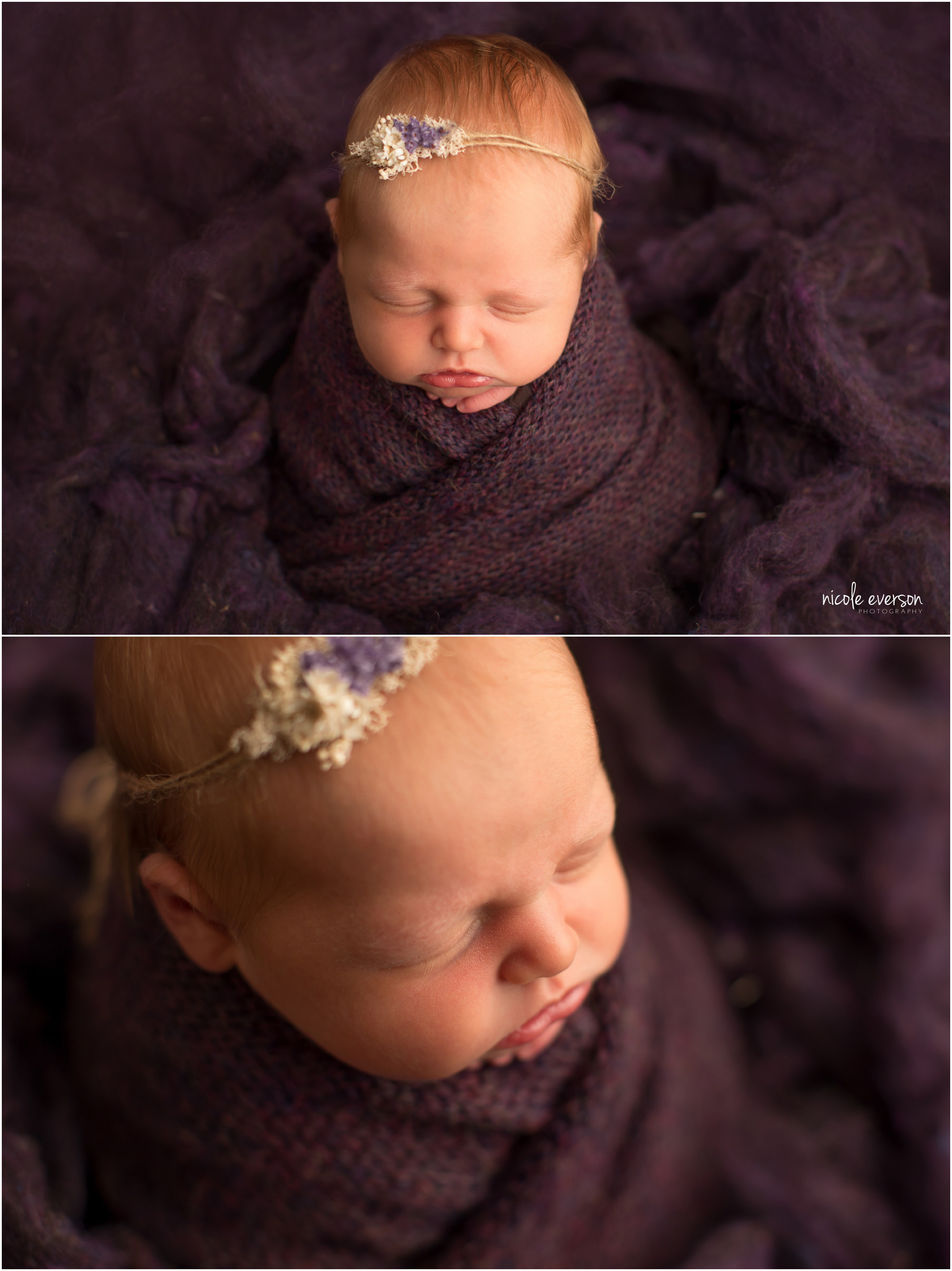 newborn baby wrapped in a purple photography prop