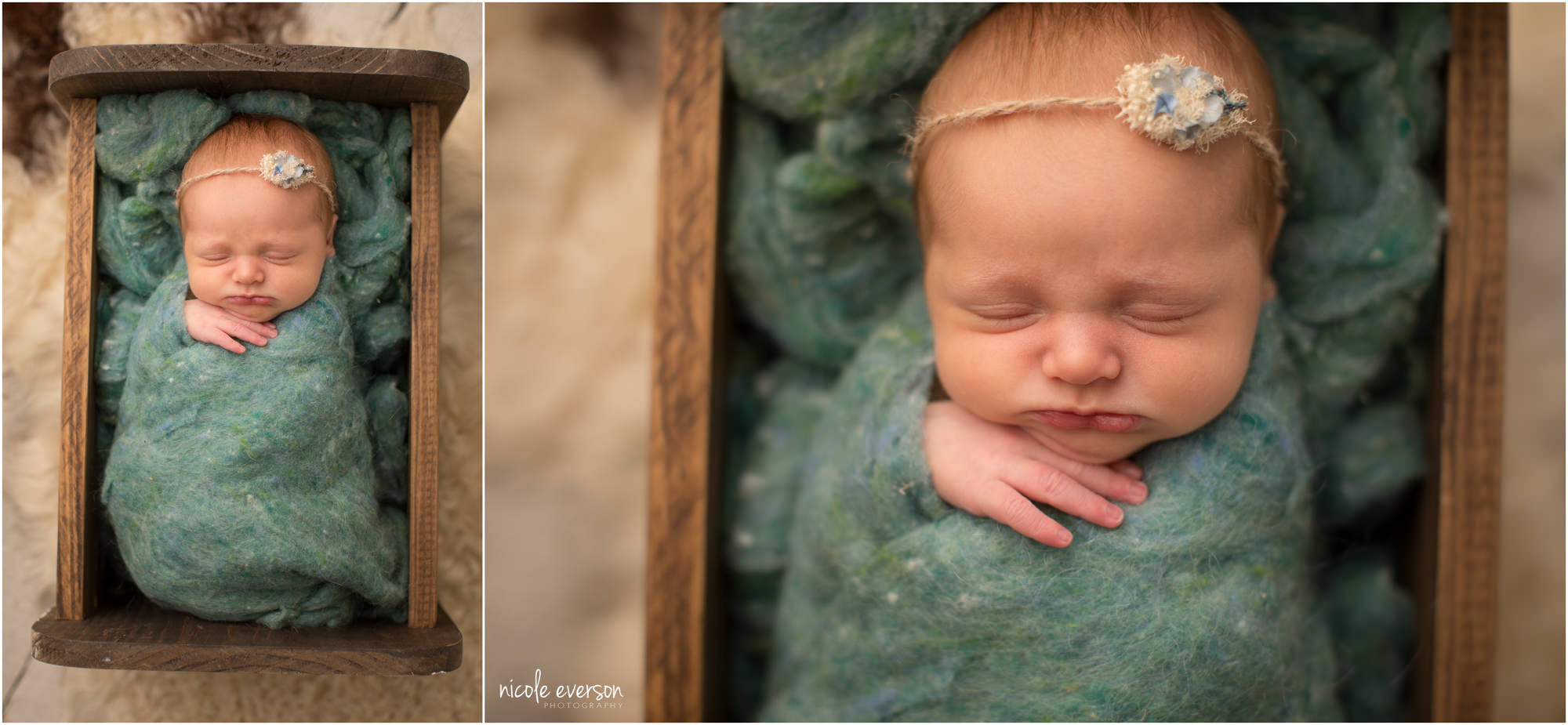 vintage newborn photo with baby sleeping in a old box with a beautiful green wrap