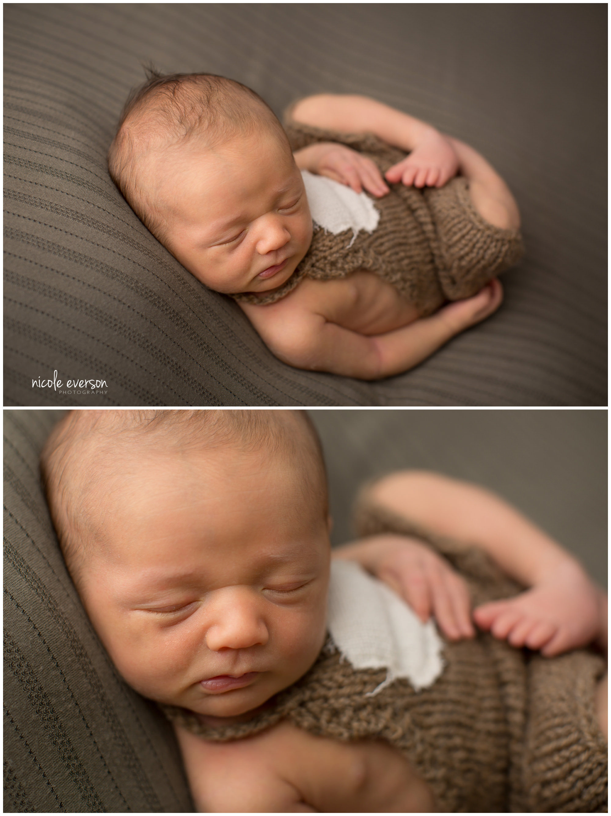 photograph of a sleeping newborn baby boy