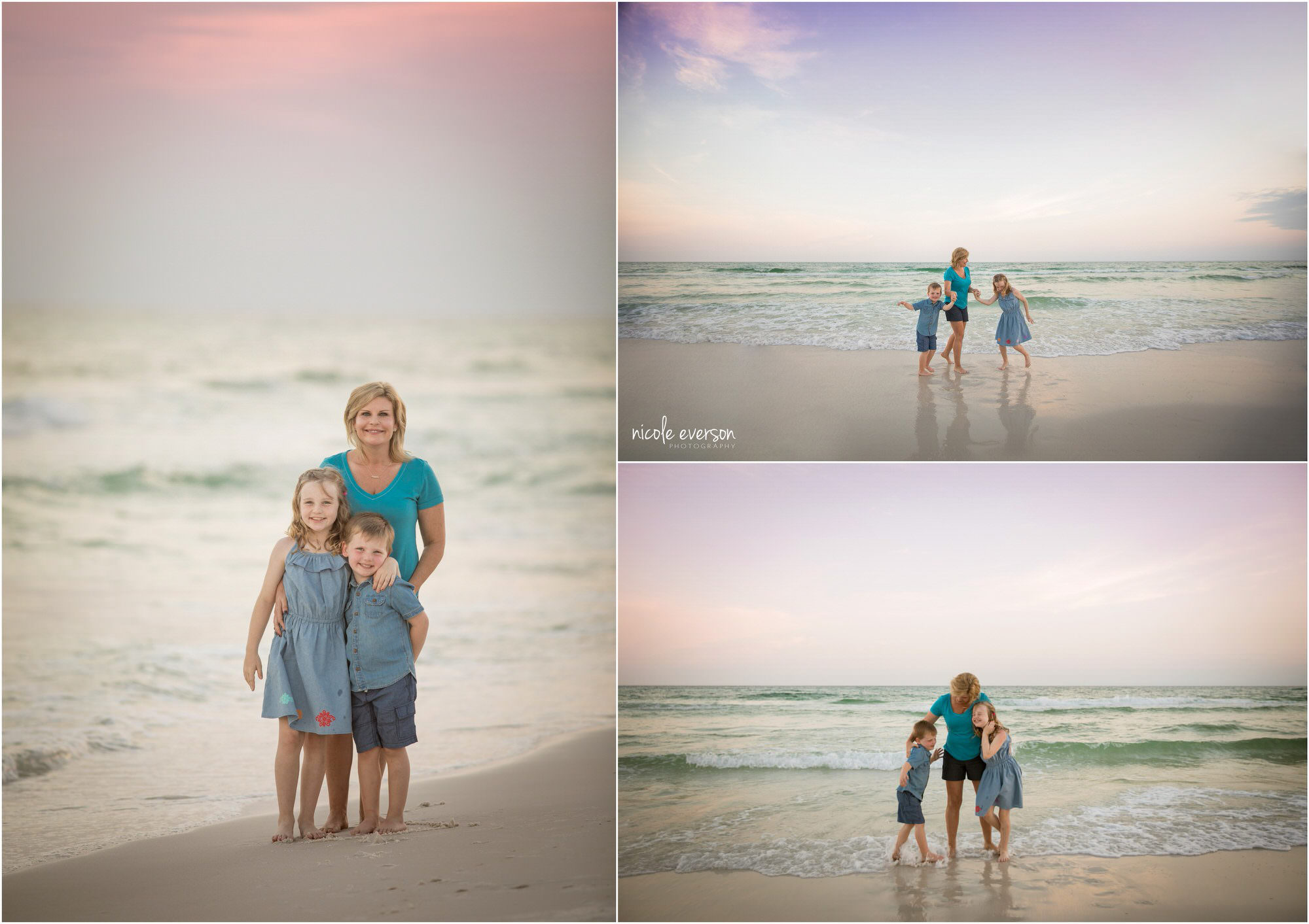 pictures of a family playing on the beach in Destin FL at sunset