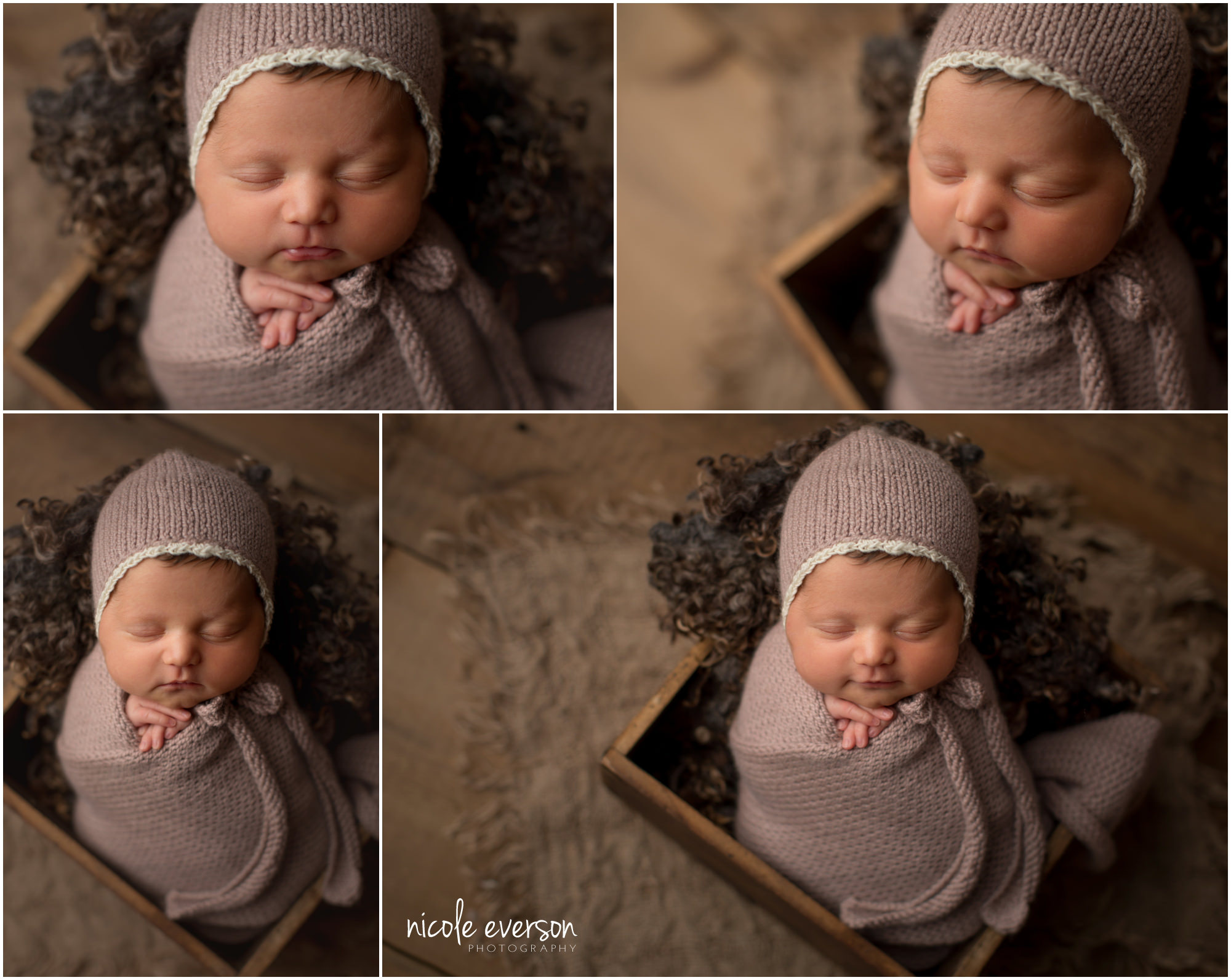 newborn baby girl wrapped in a purple knit newborn photographer Destin Florida