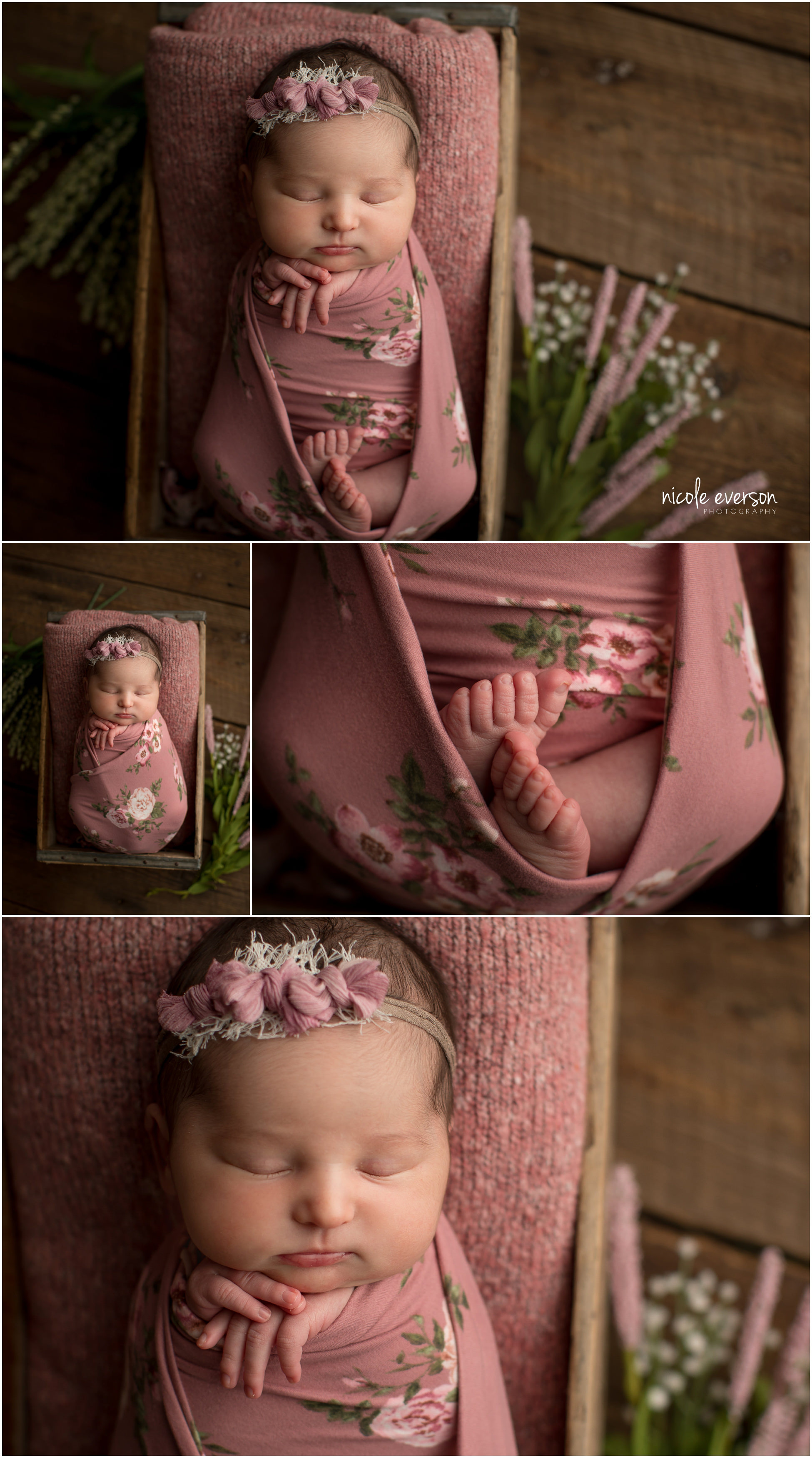 newborn baby girl photos on vintage wood in a pink floral wrap by Nicole Everson Photography
