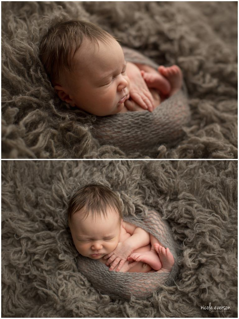 newborn wrapped up on a grey fur photographed by Nicole Everson Photography