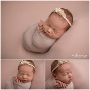 newborn baby wrapped in a pink blanket in Crestview Florida