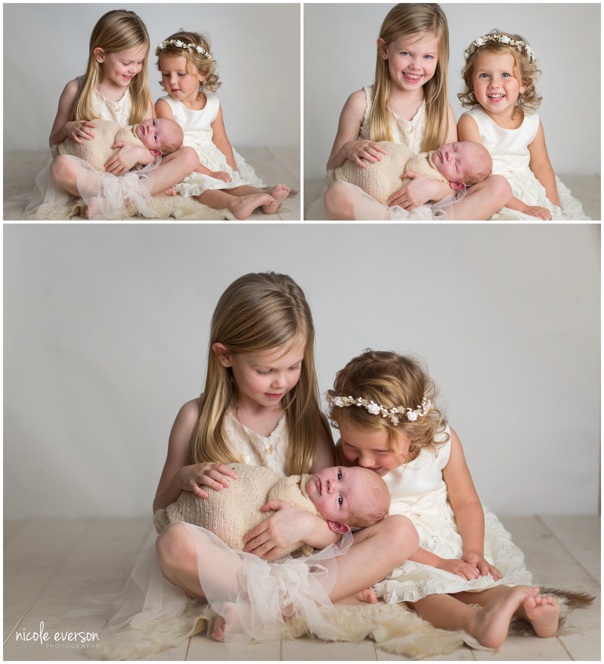 newborn photographed with his big sisters Destin