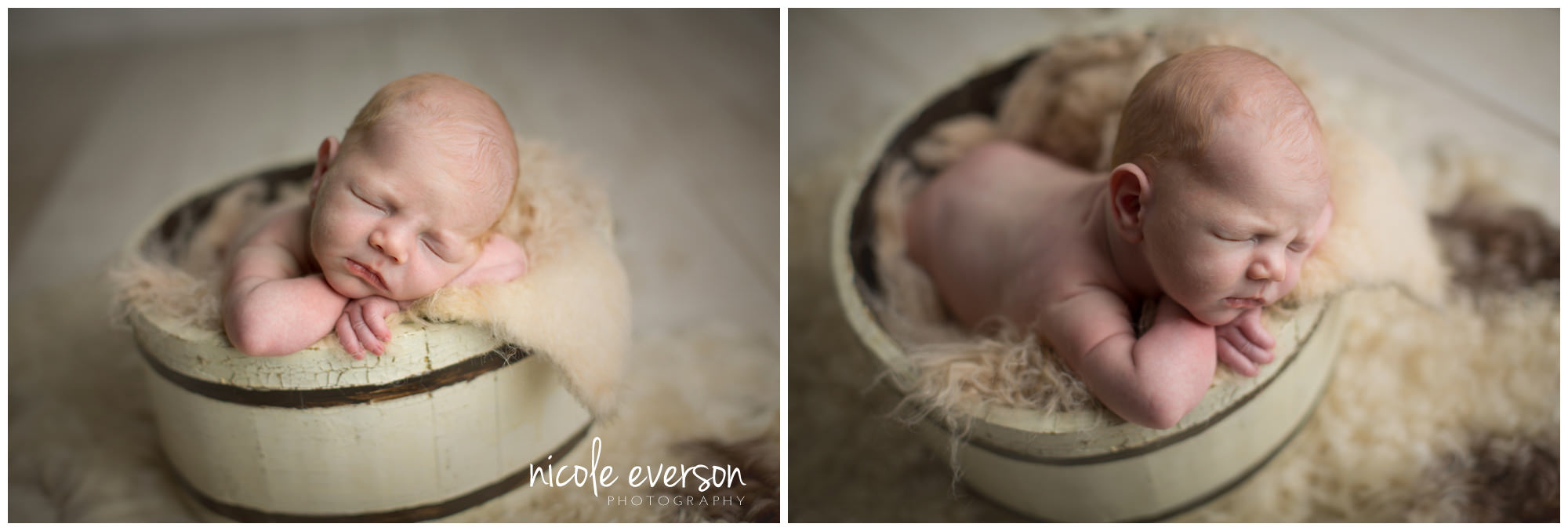 newborn photographed in a vintage bucket by Nicole Everson Photography