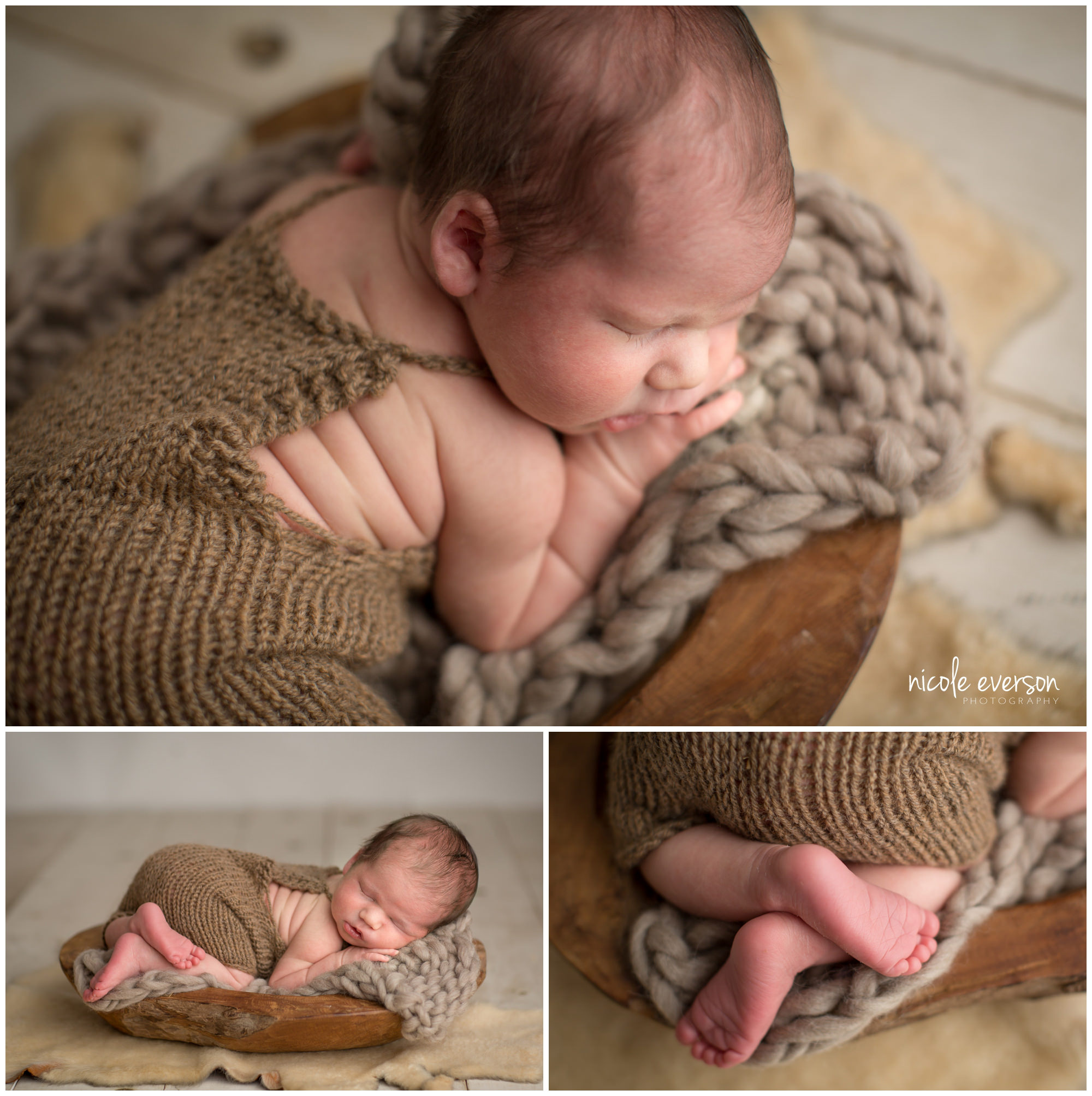 newborn photo on a neutral rustic photography set