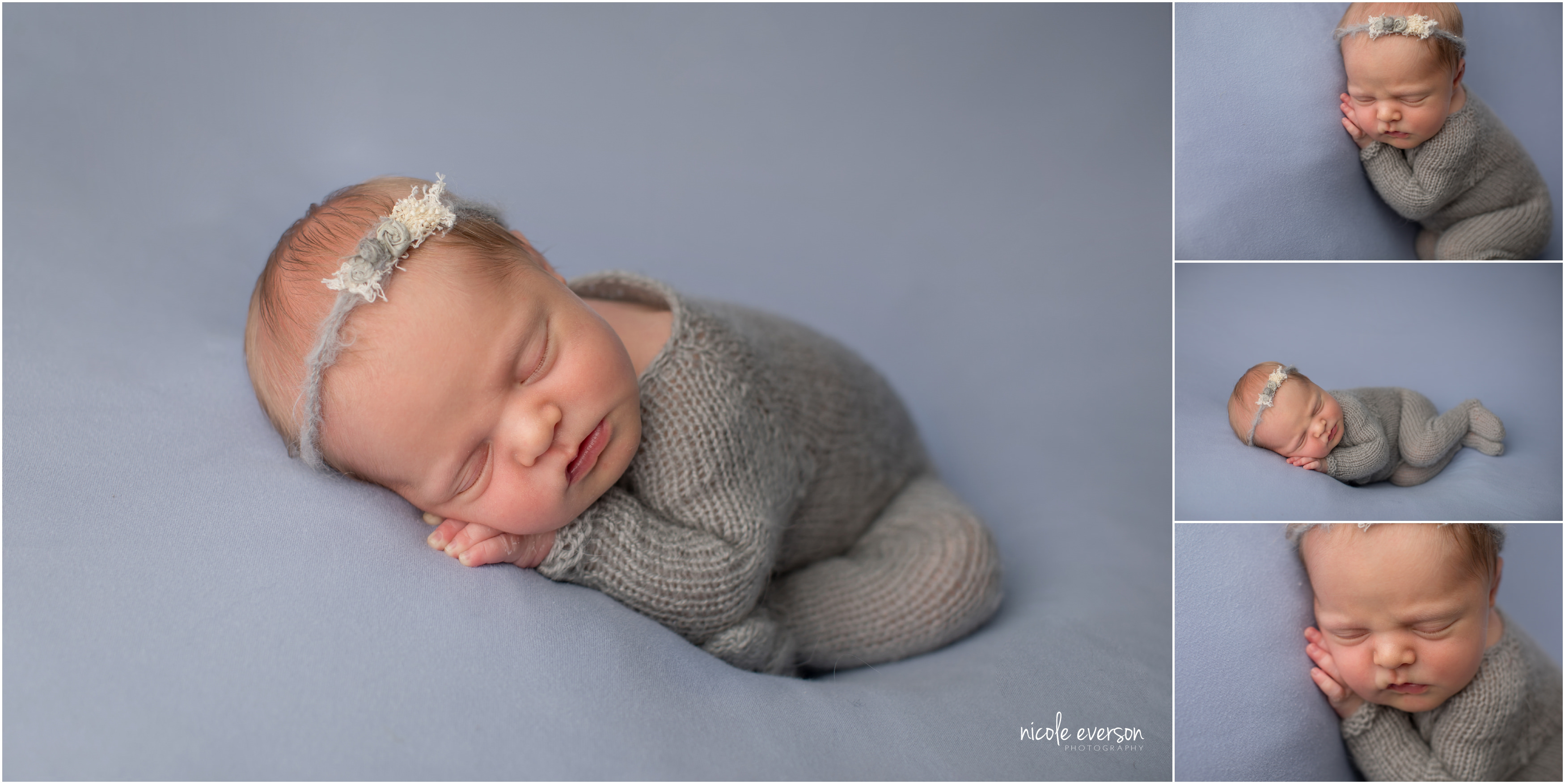 nebworn photo on a blue backdrop wearing a grey knit newborn outfit