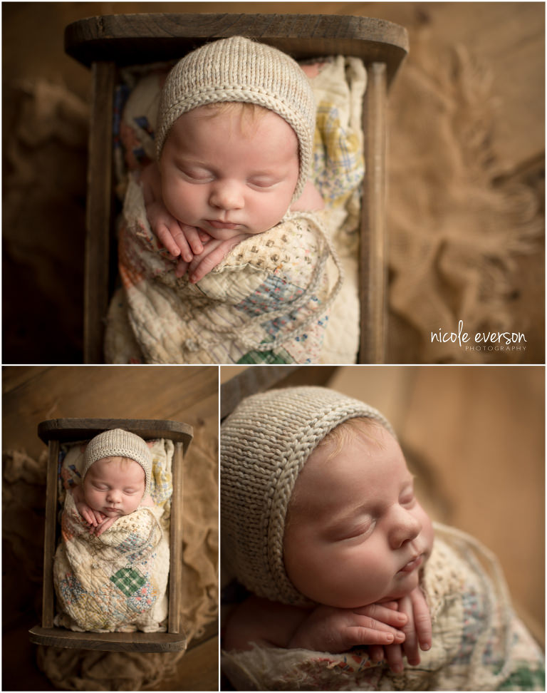 newborn photographed in Destin Florida wrapped in a vintage quilt