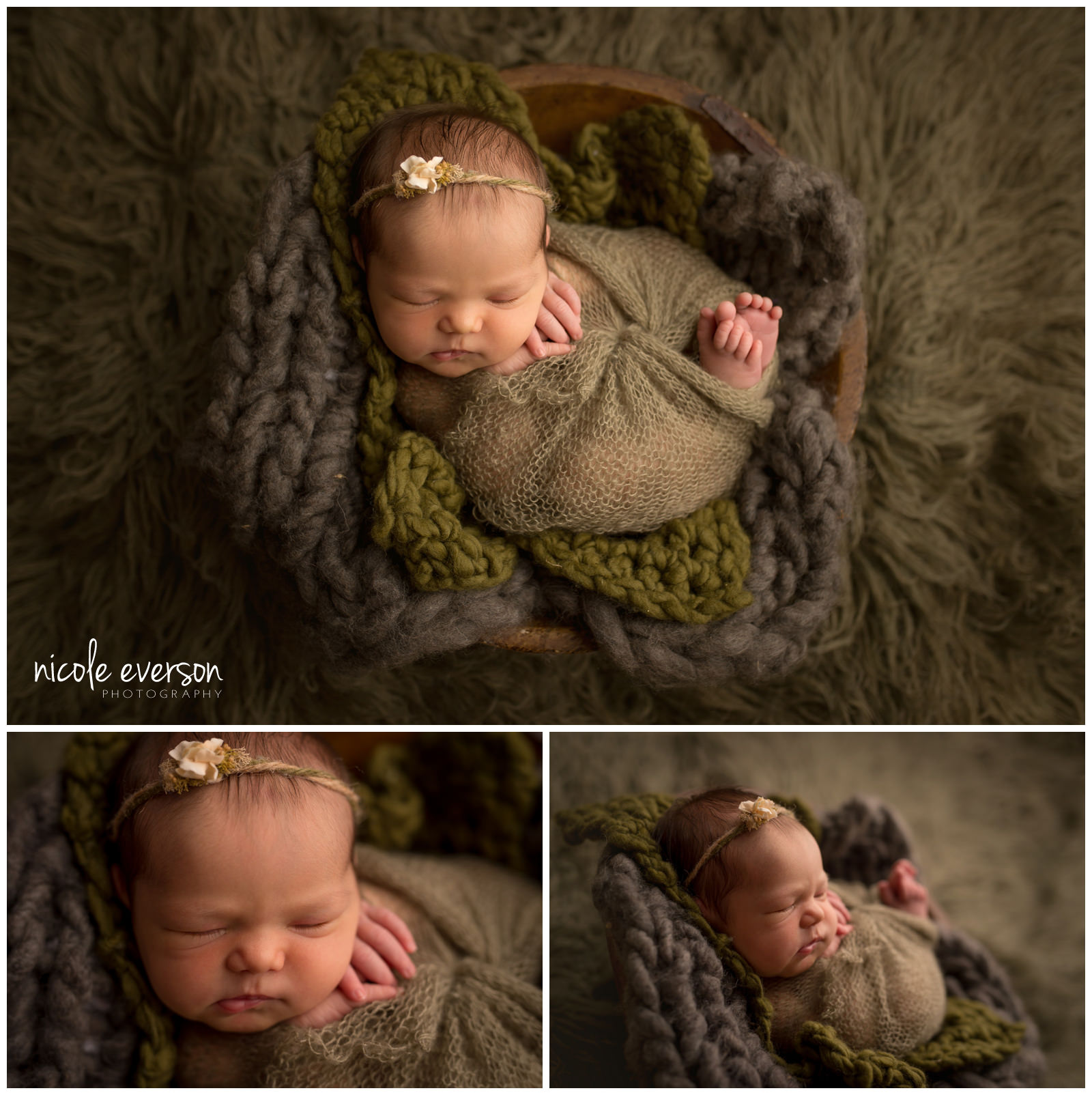 baby photo wrapped in a green wrap by Nicole Everson Photography