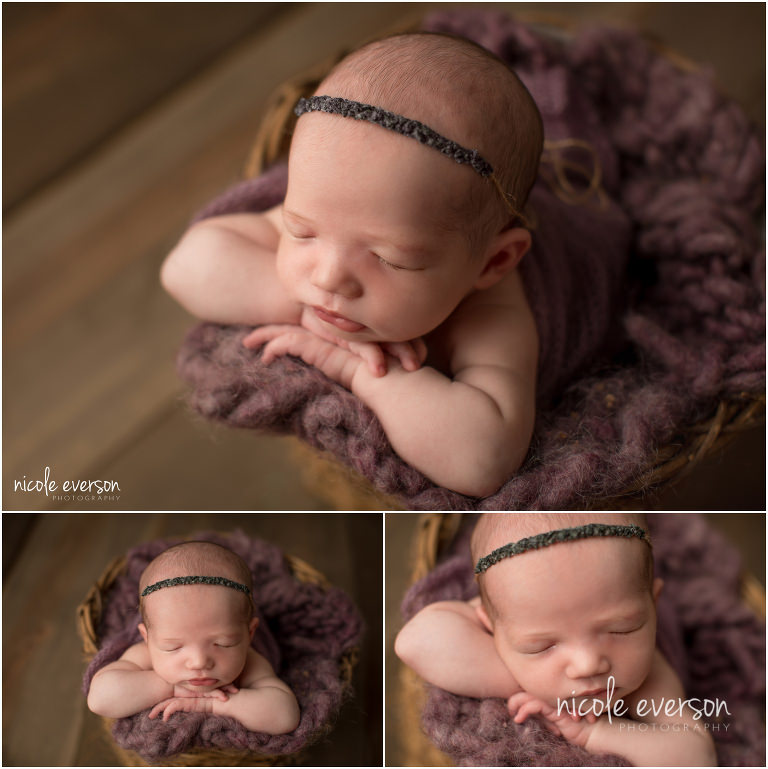 newborn photo sleeping in a vintage bucket with purple photography props