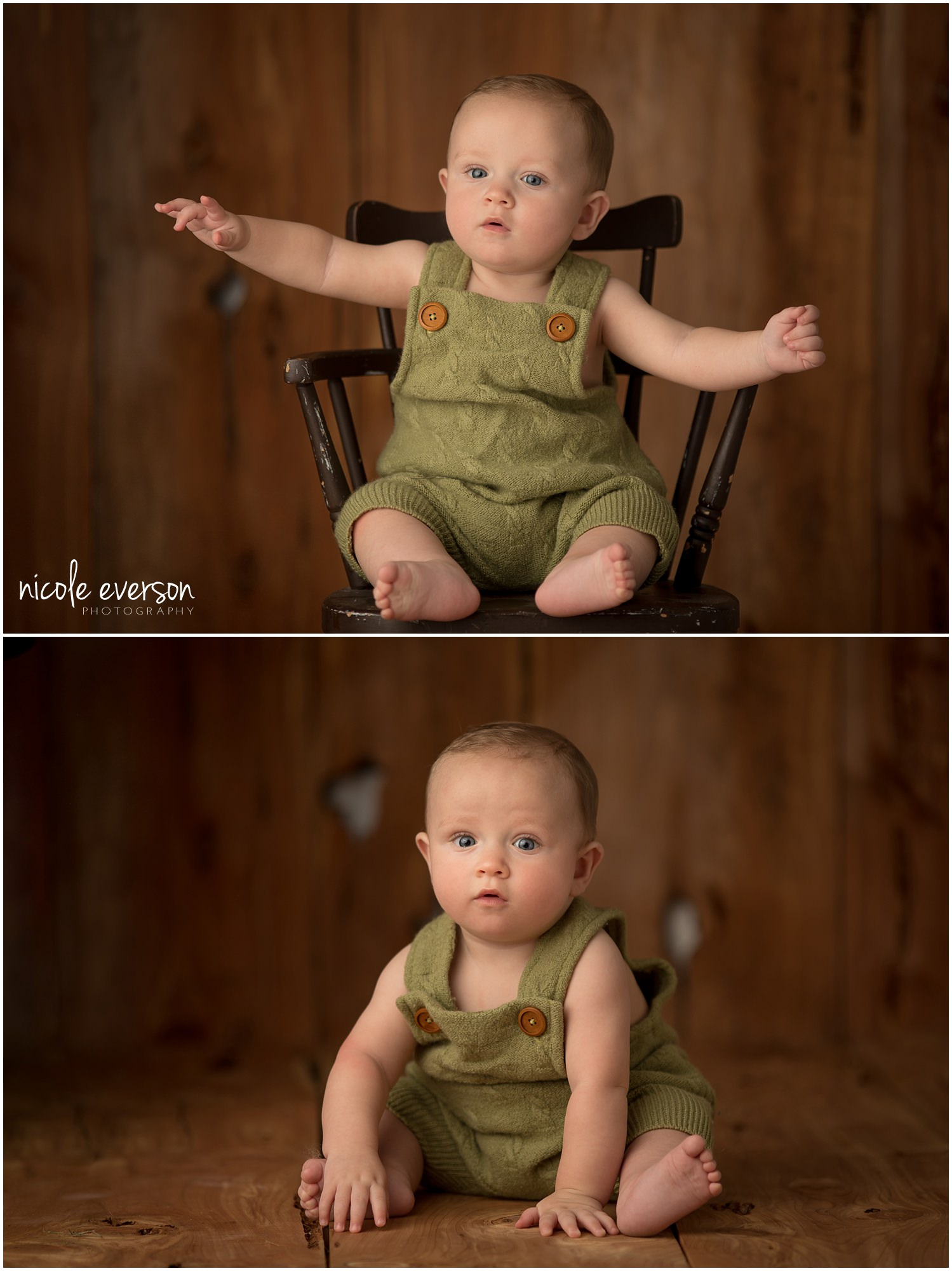 baby boy in a green romper photographed by Nicole Everson Photography in her baby photography studio