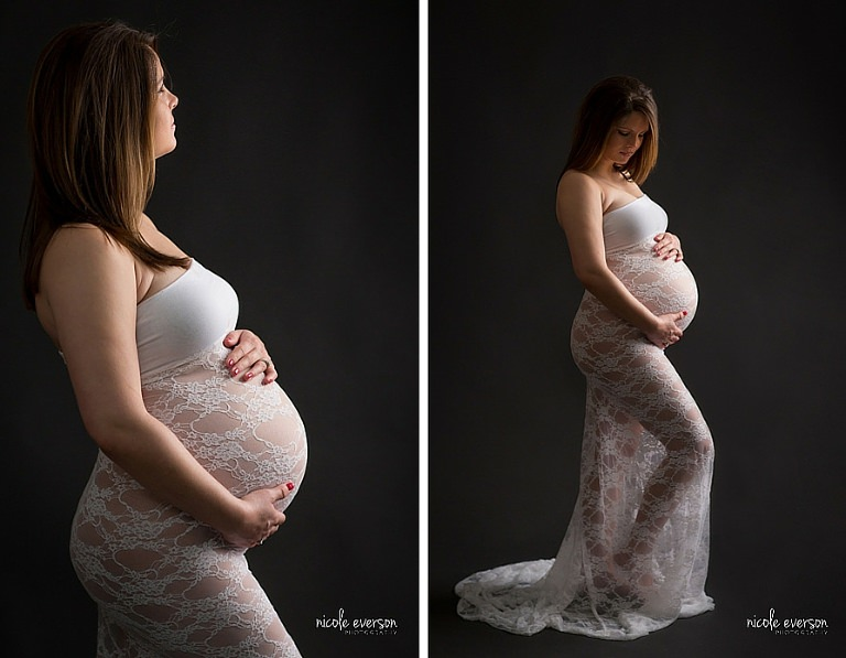 Black background maternity photography by Nicole Everson