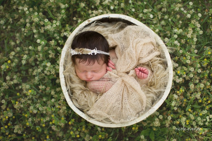 Newborn photography outside in flowers