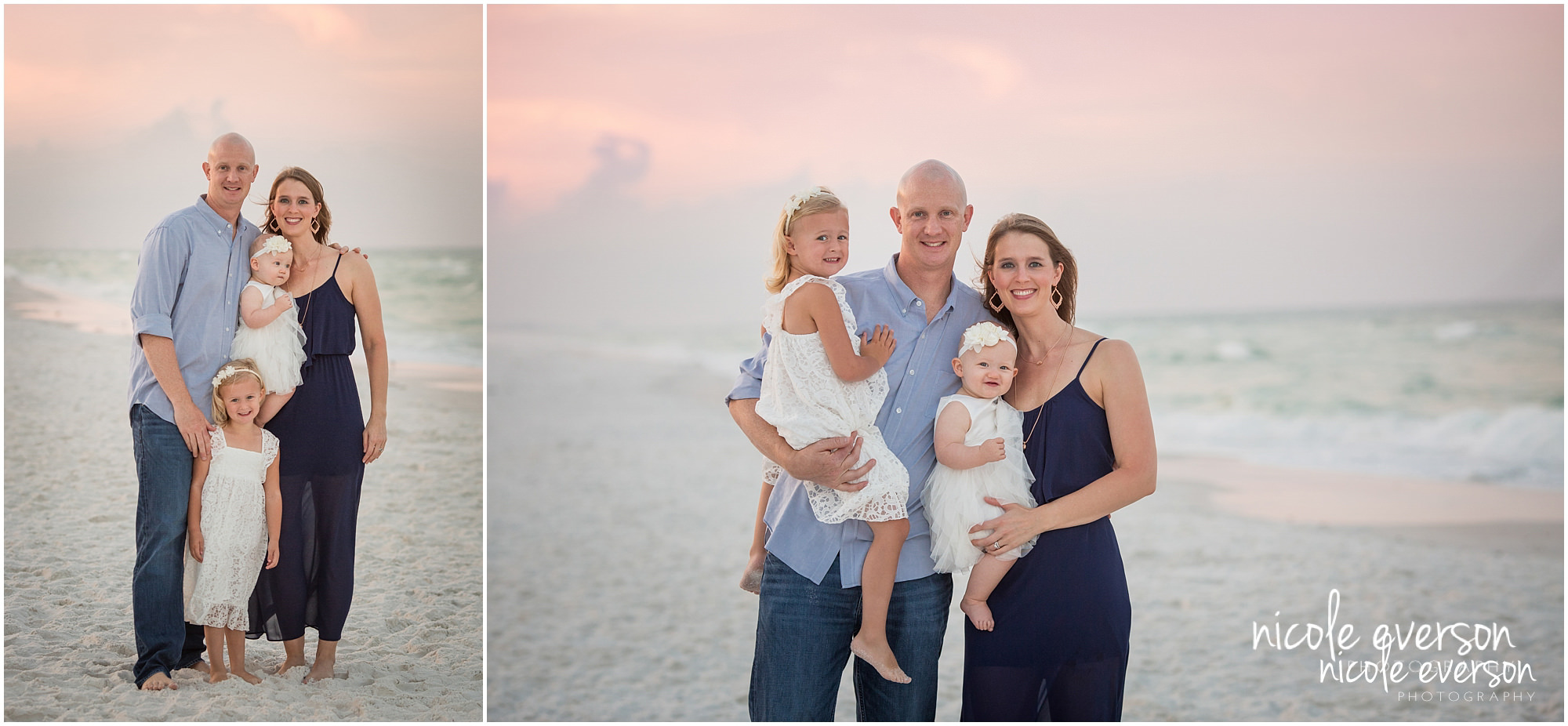 family photo photographed near Seaside FL family photographer wearing grey and navy blue