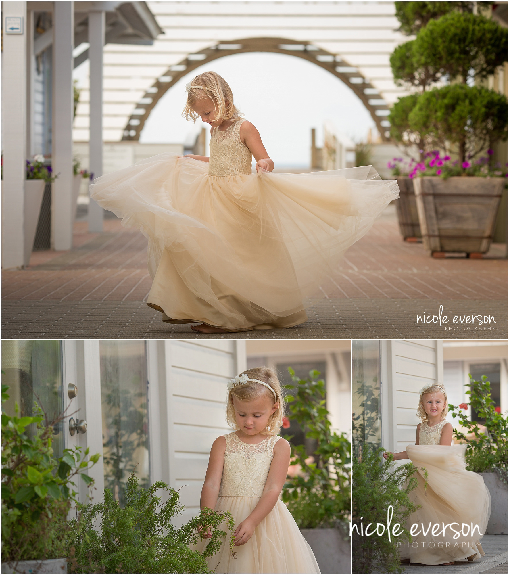 child photographed in seaside Florida dancing in a princess gown dress