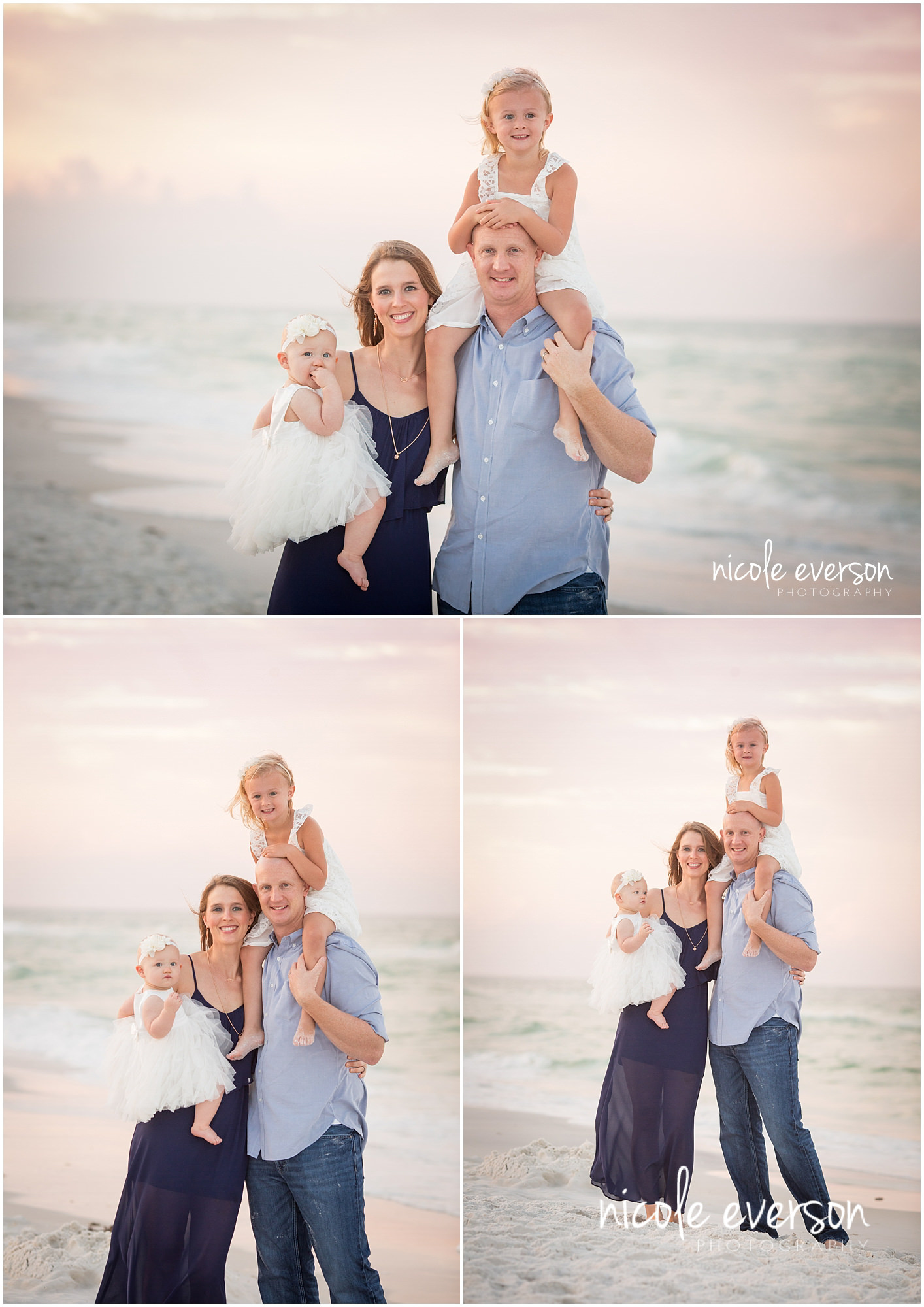 sunrise beach family portraits with navy and grey outfits