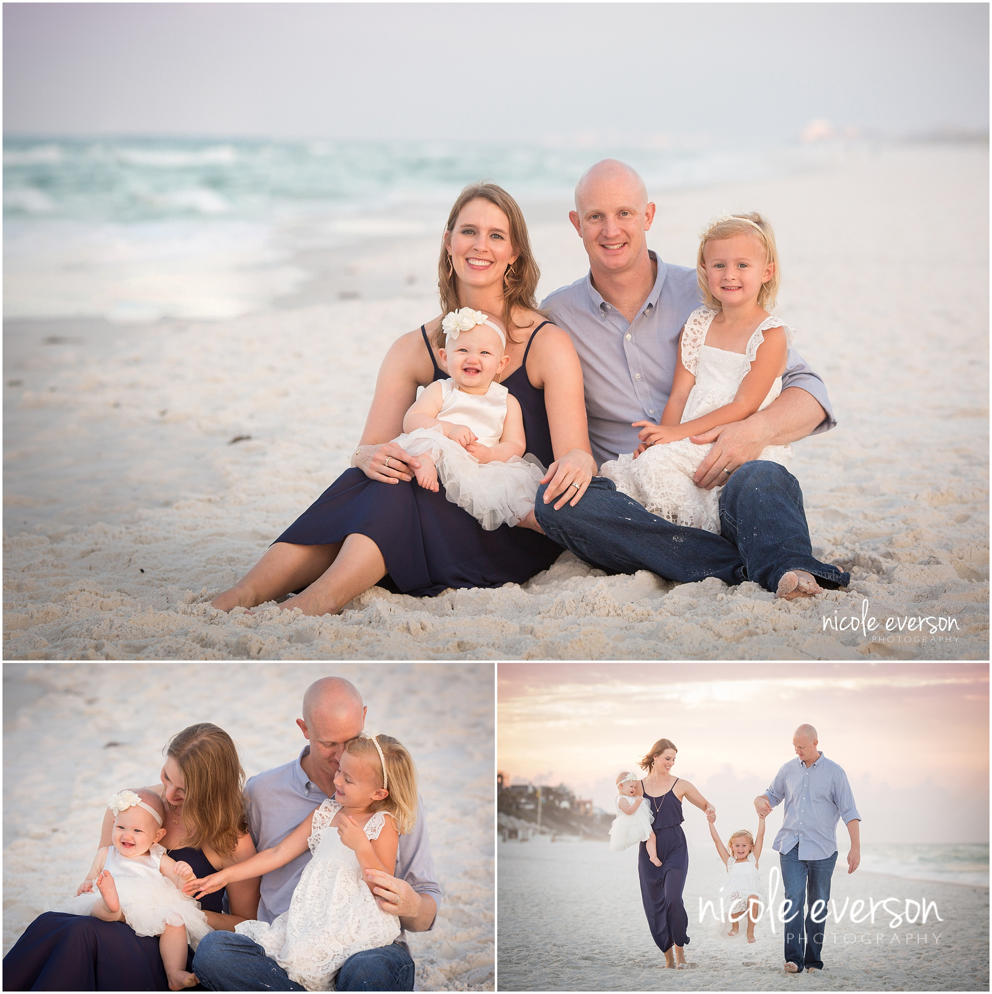 toddler and baby family photography on seaside beach on 30a