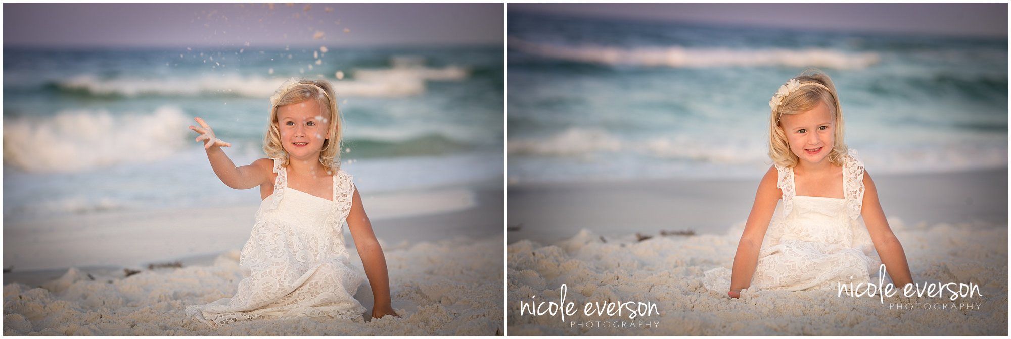 child in seaside beach photographed in a white dress by Nicole Everson Photography