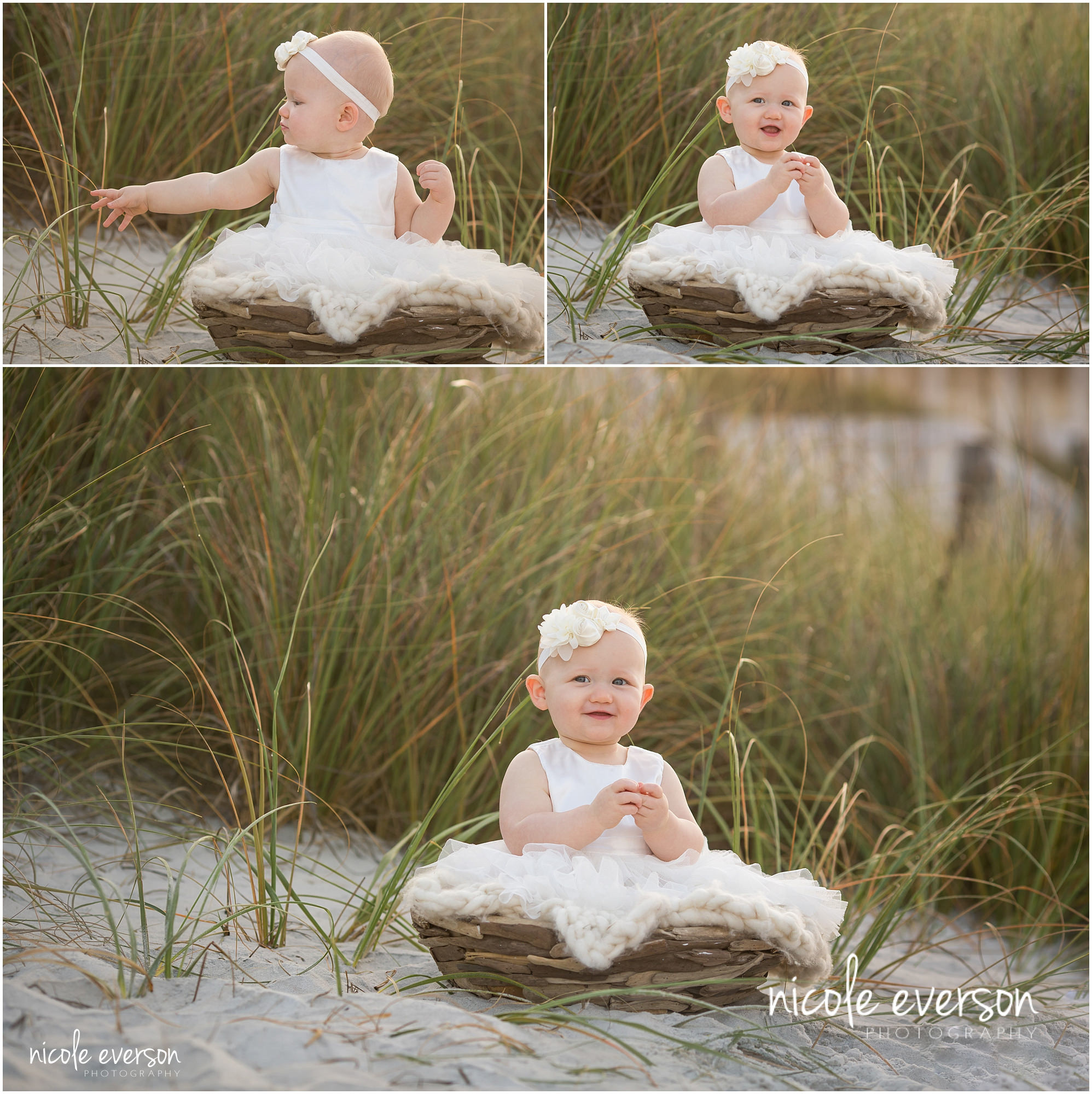8 month old baby in seaside dunes
