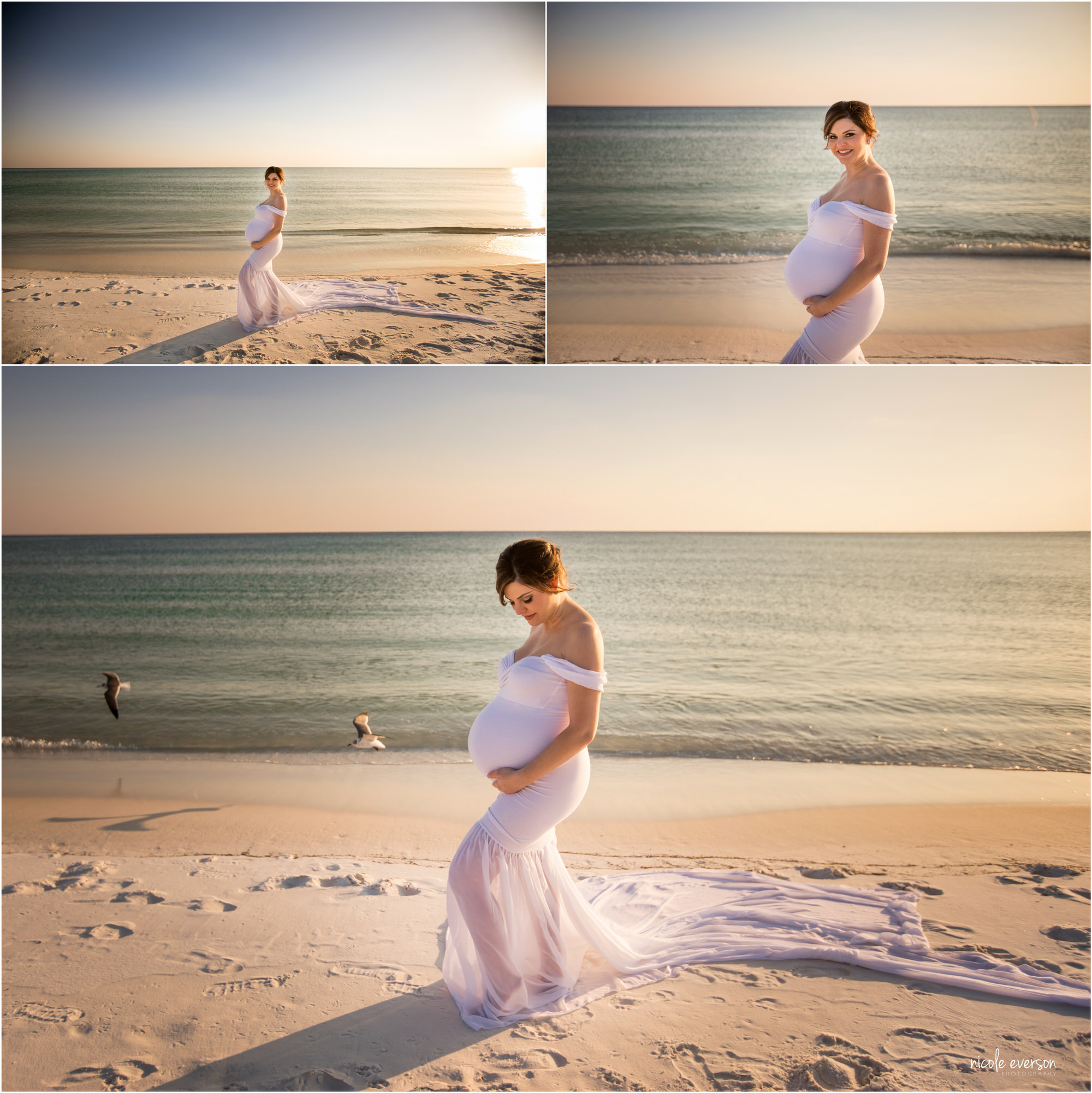 portrait of a expecting mom wearing a white maternity gown on the beach