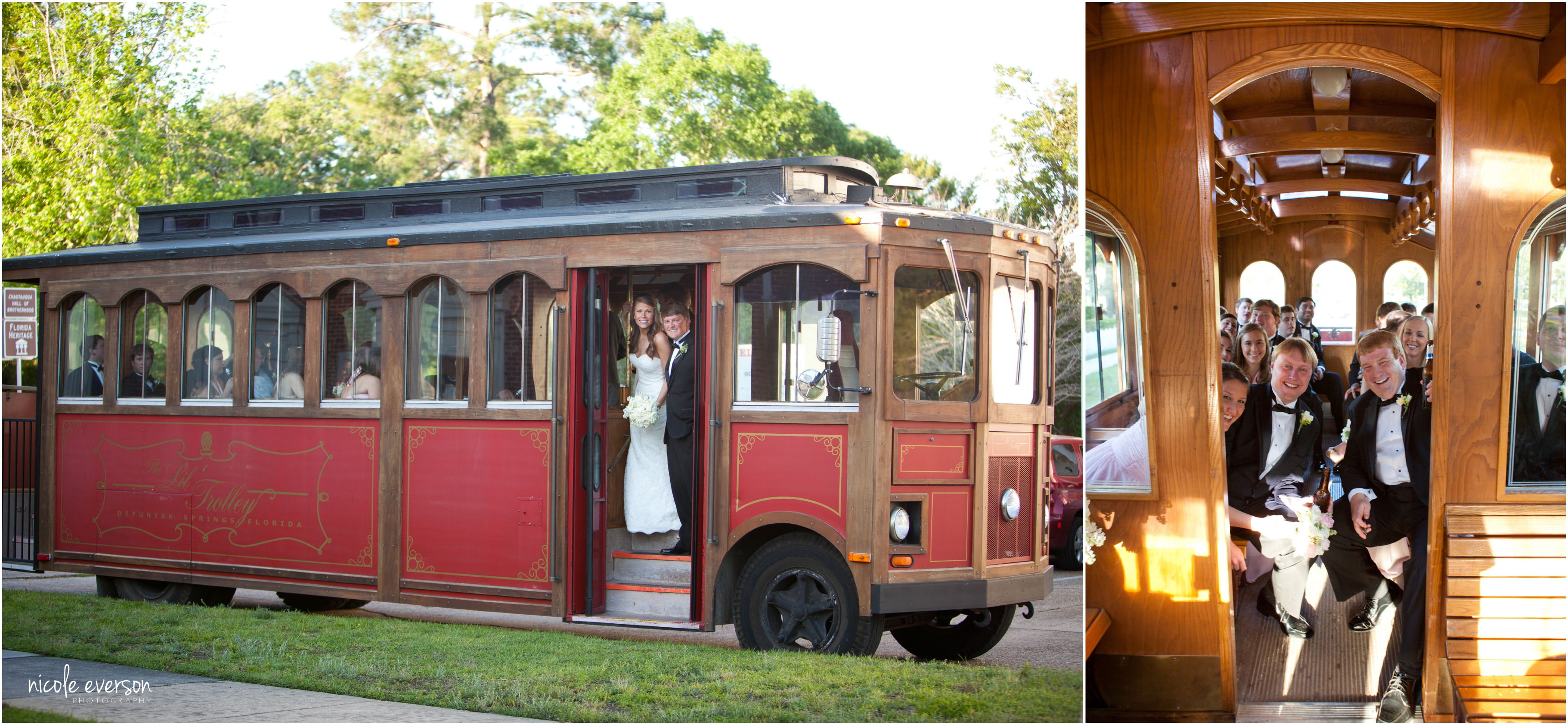 wedding party trolly transportation