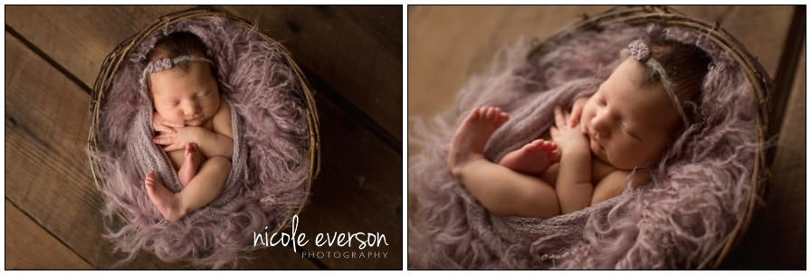 newborn posed in muted purple fur