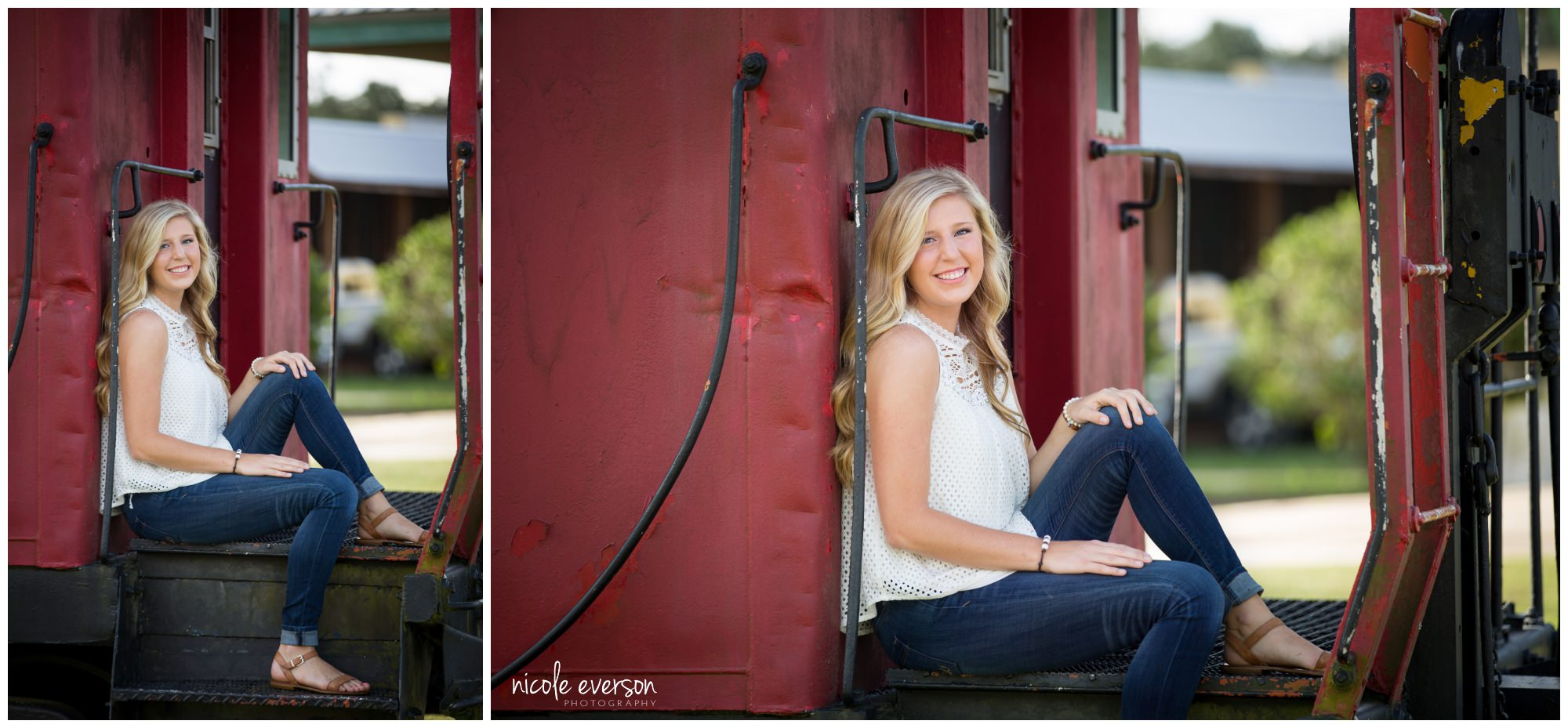 Senior portraits on train