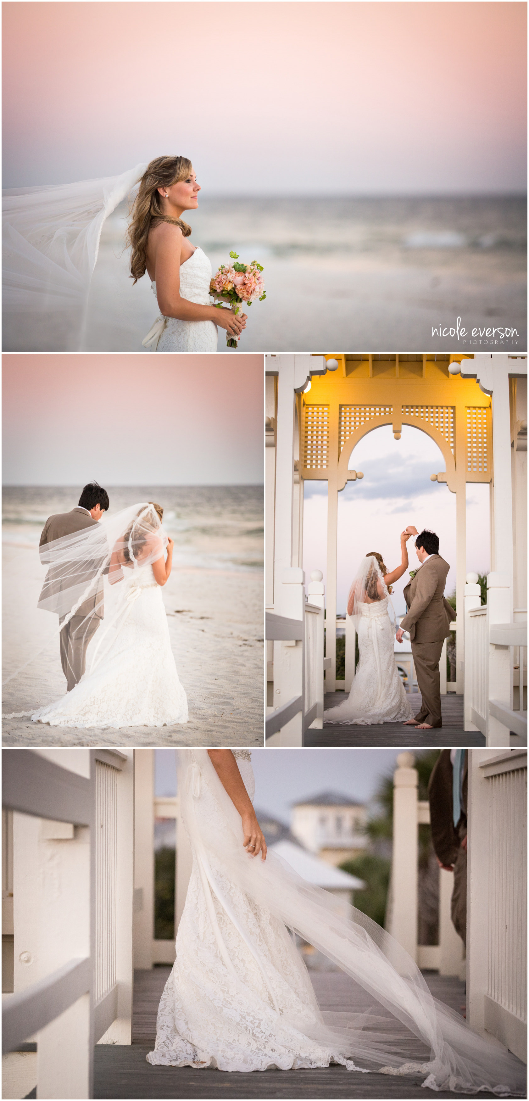 sunset Florida beach wedding photographer Nicole Everson Photography
