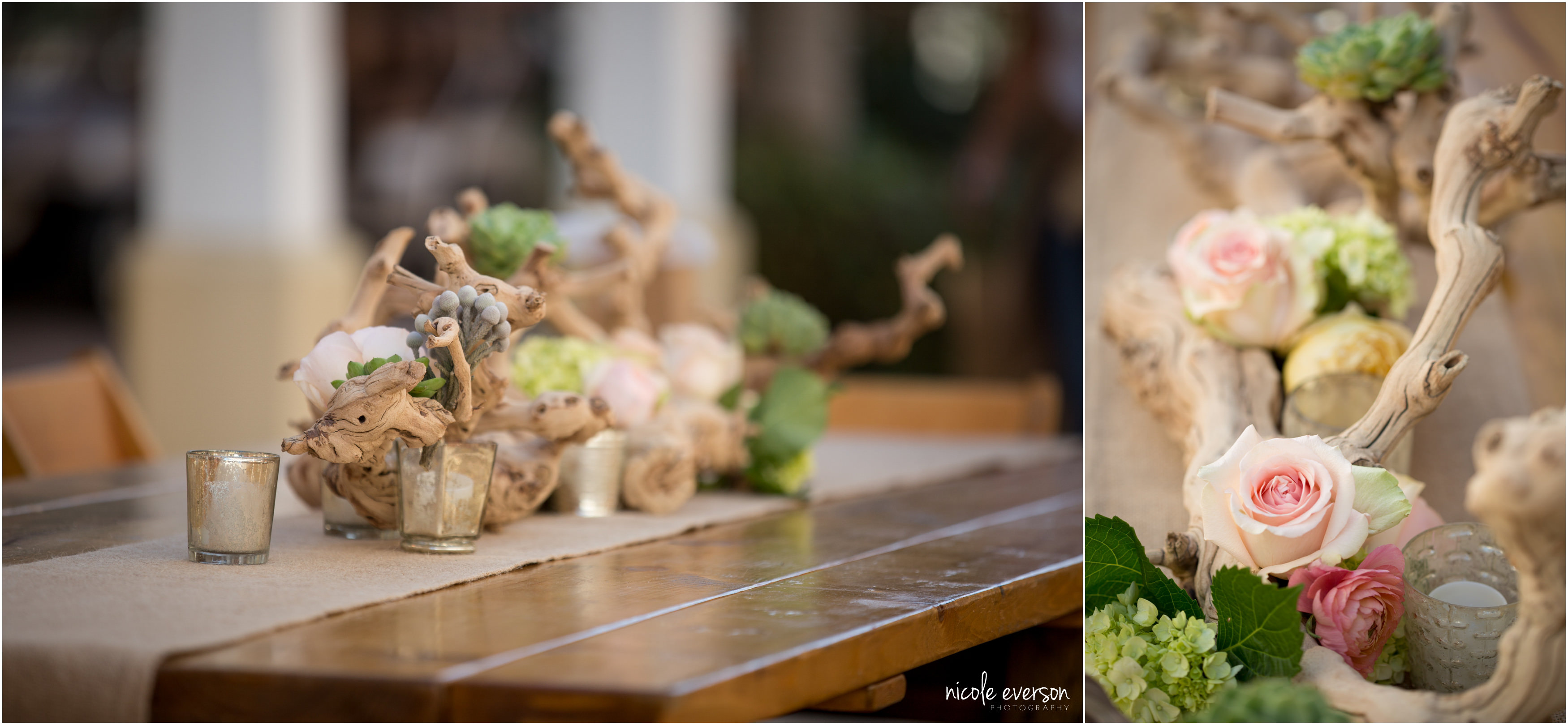 Beach Wedding driftwood and roses table centerpieces