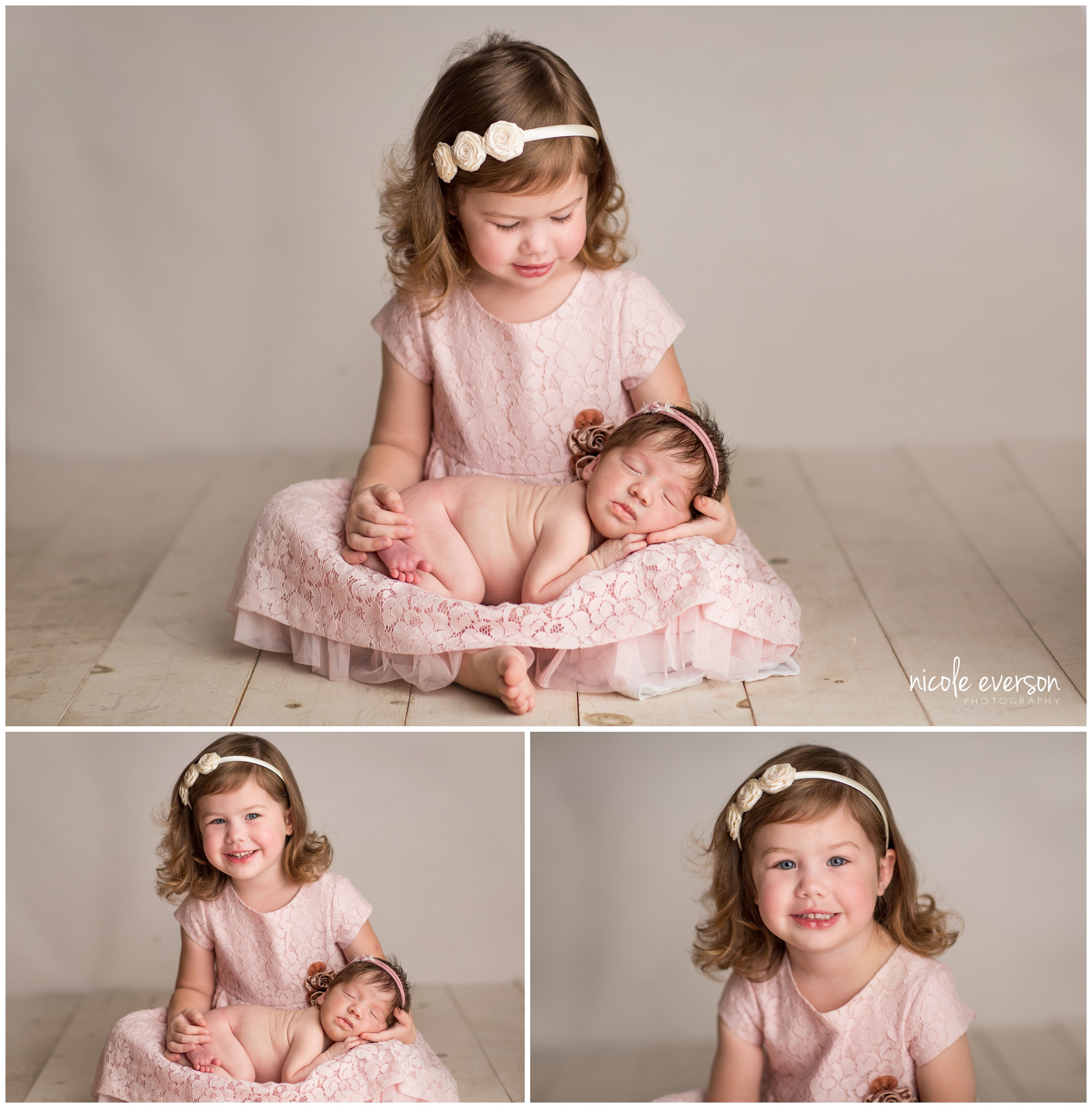 newborn photo with big sister holding baby sister