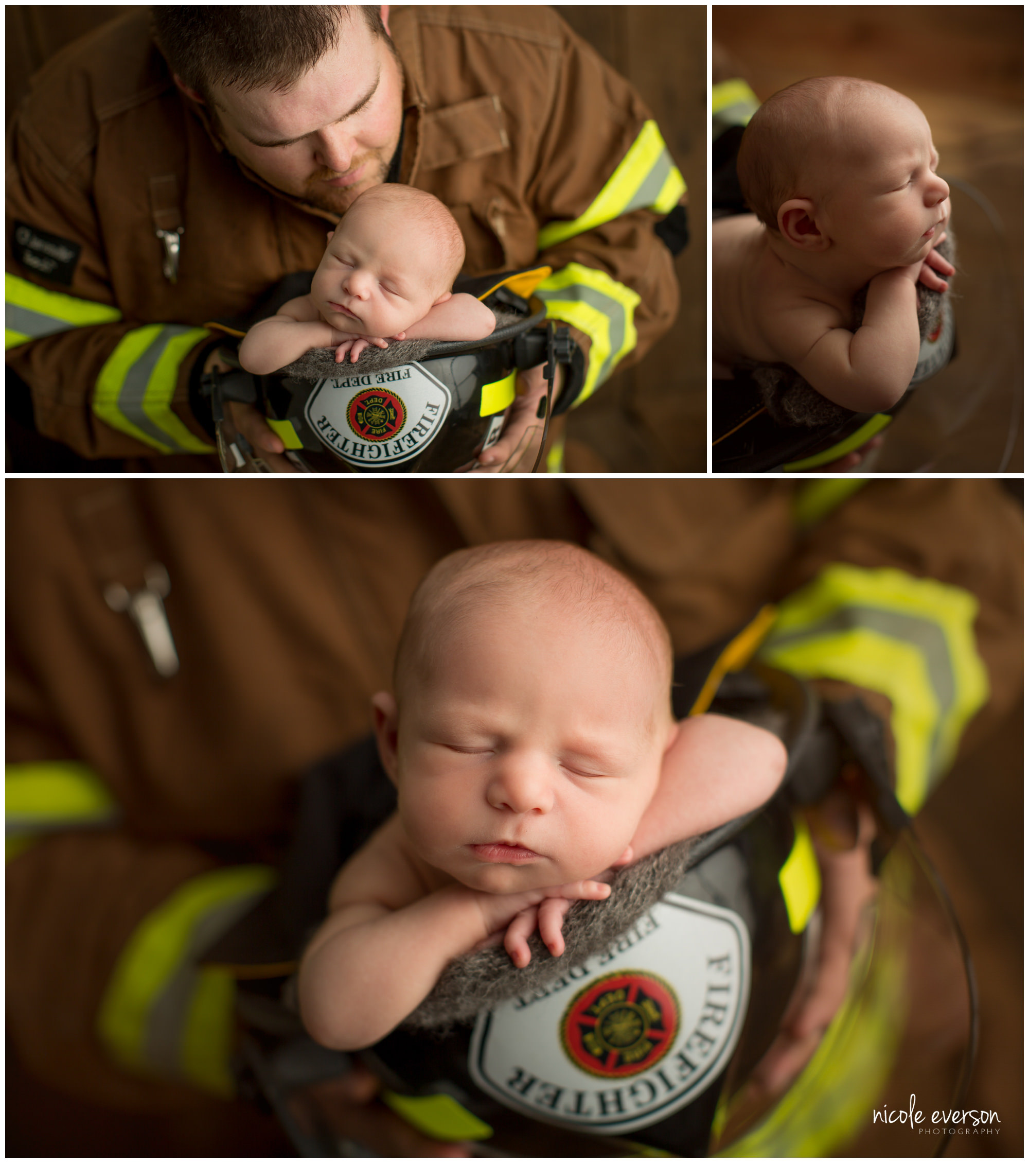 newborn photographed in dads fire department helmet in Fort Walton Beach Florida