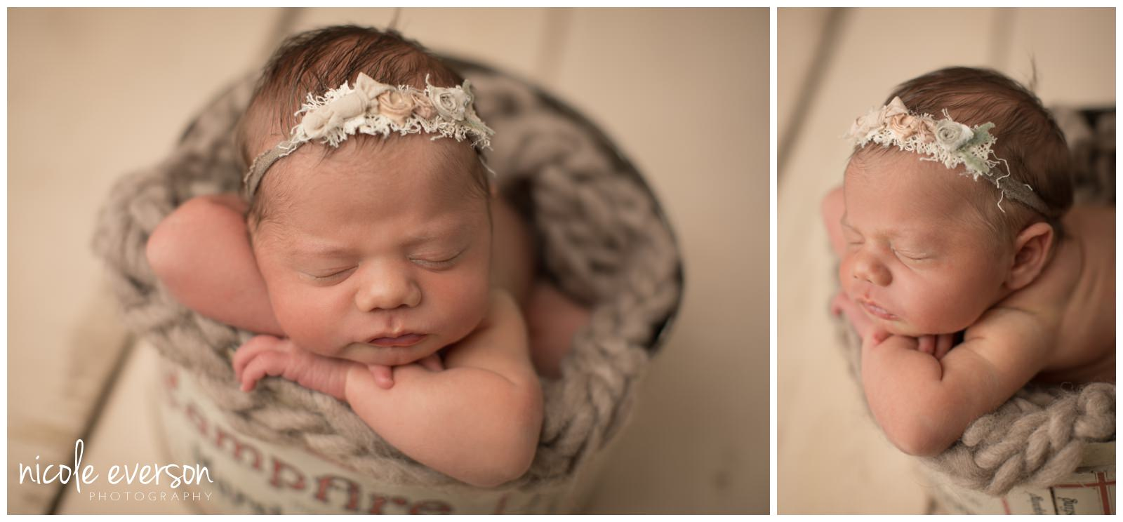 newborn baby girl photographed in a vintage marshmallow  tin in Tallahassee FL