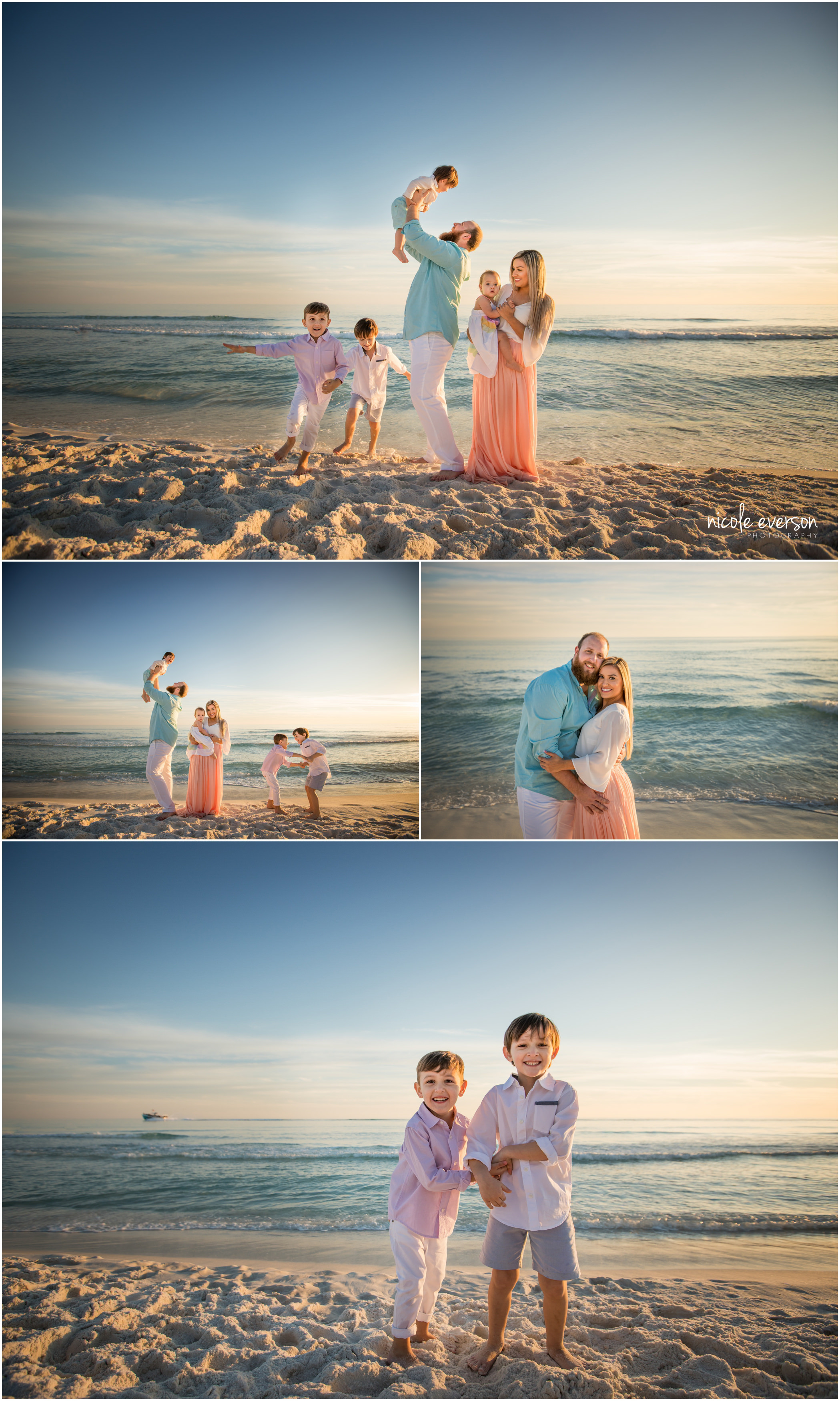 family beach photos taken Destin beach Florida by Nicole Everson Photography