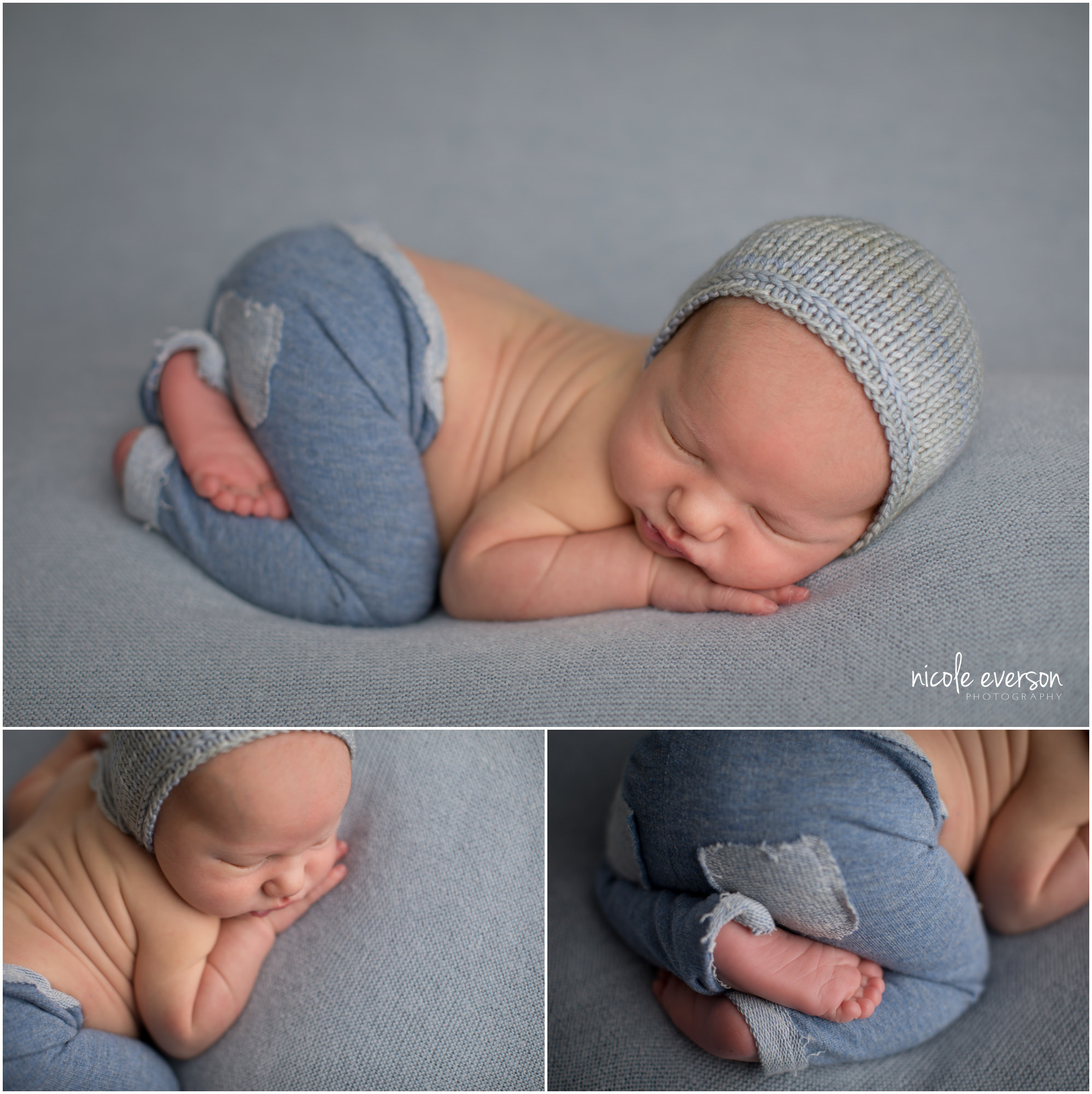 photo of a nebworn baby boy on a blue backdrop