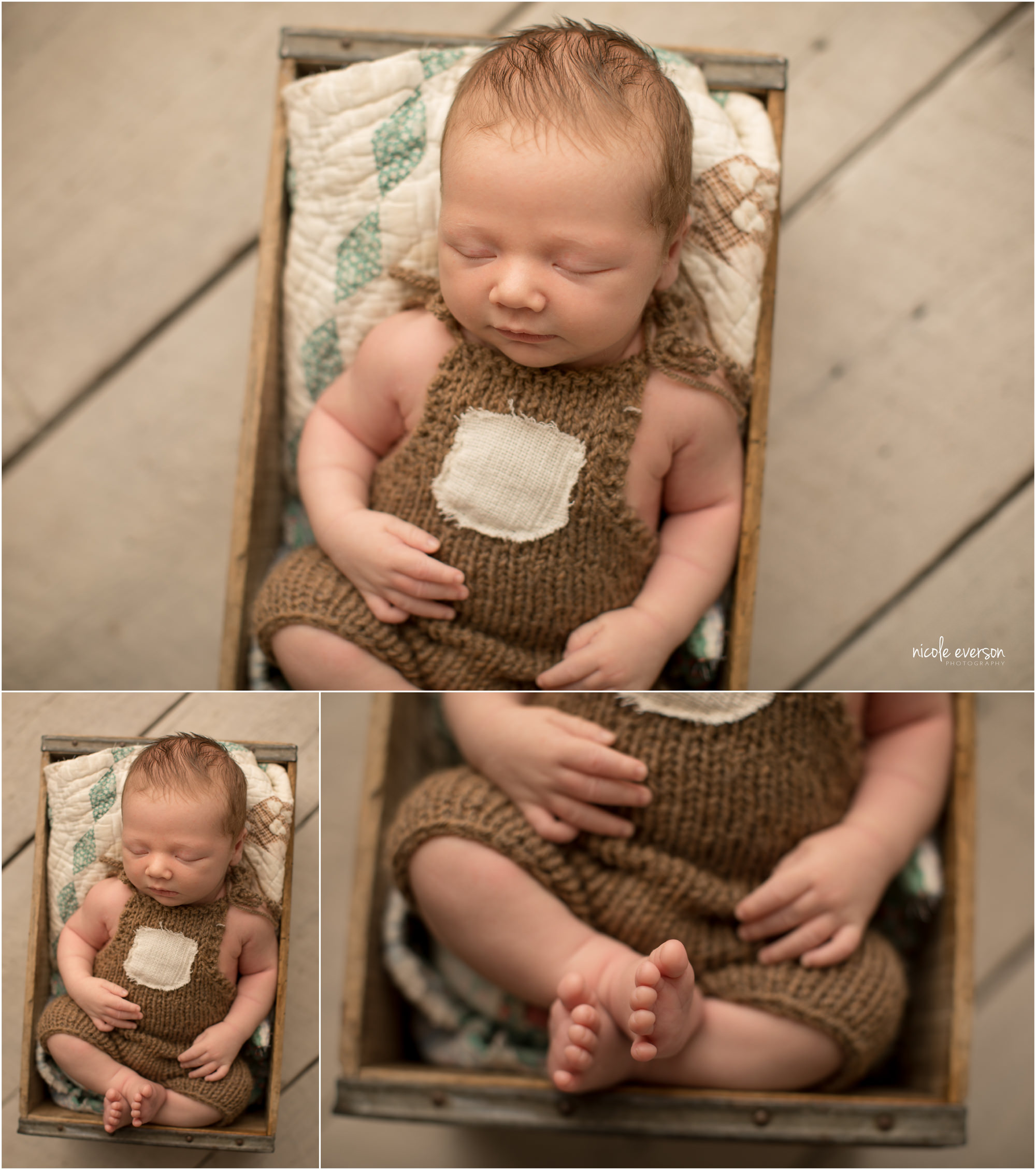 newborn photographed Nicole Everson Photography in a vintage box wearing overalls