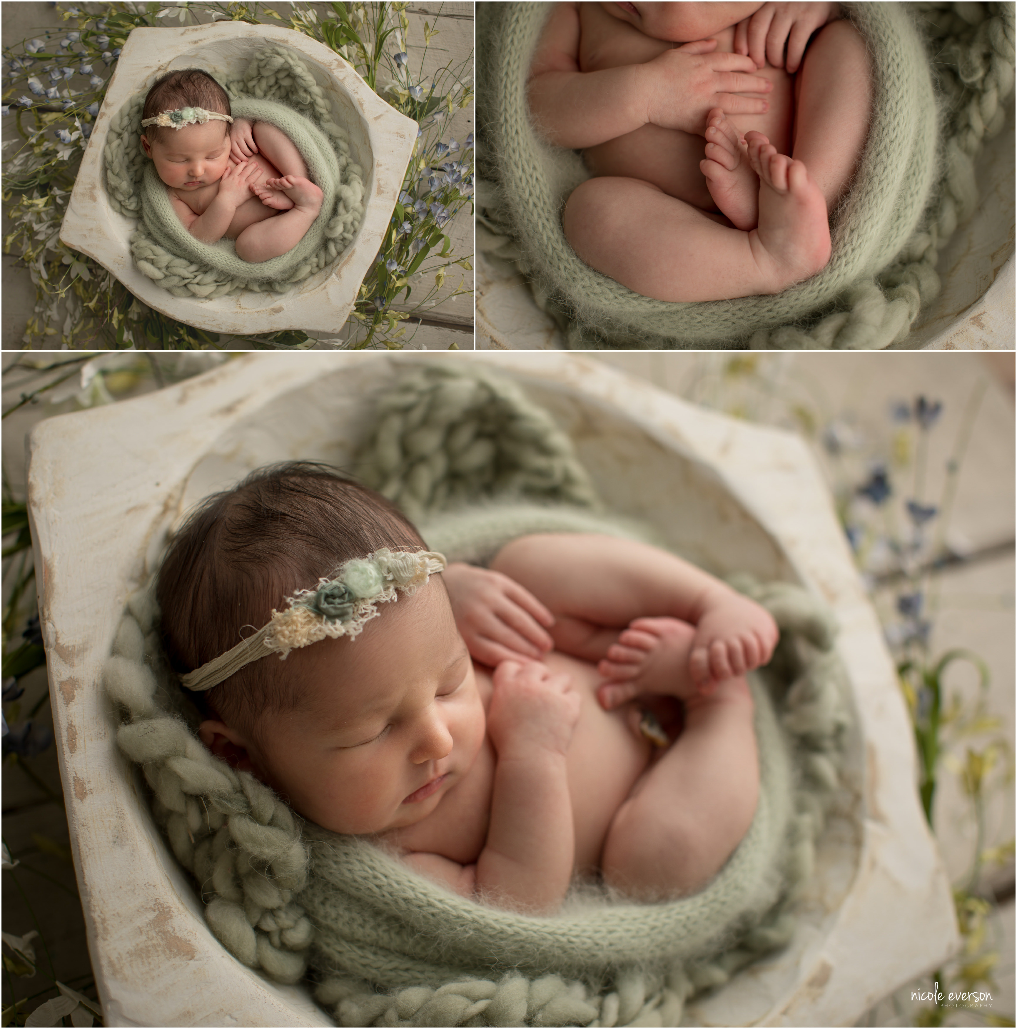 newborn baby girl swaddled in a sage green newborn prop in my Tallahassee newborn studio