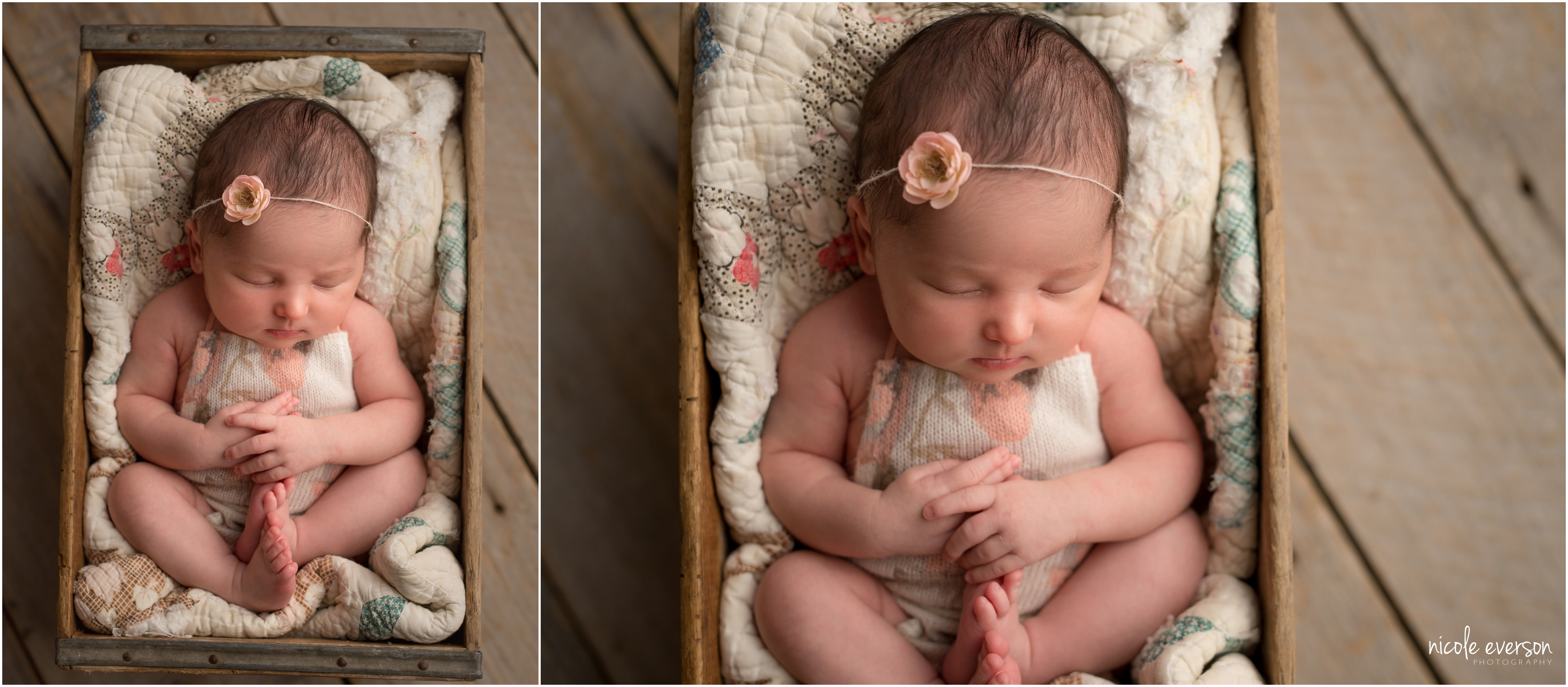newborn photography poses in a vintage quilt