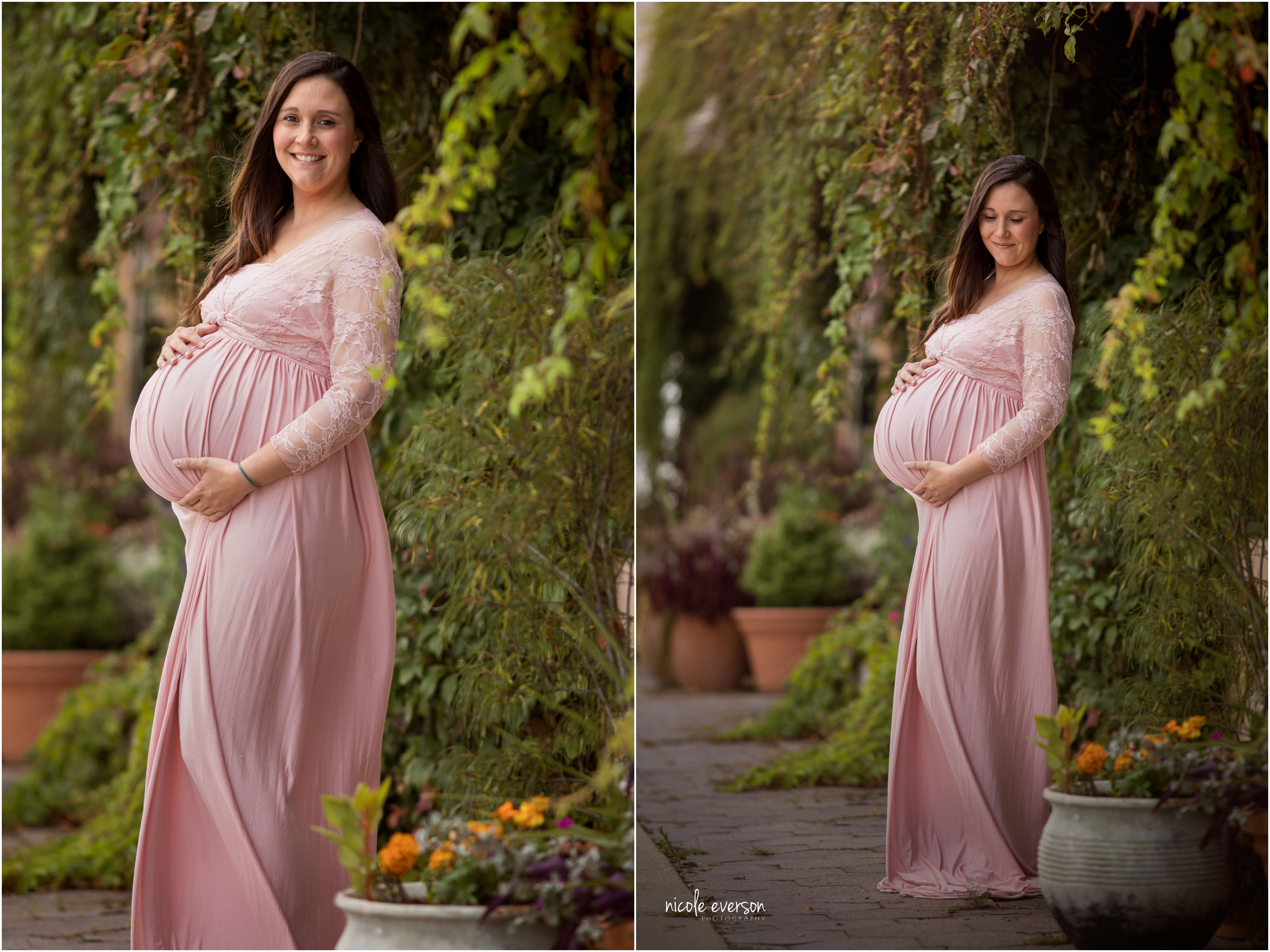 maternity photos downtown Tallahassee Florida wearing a pink maternity dress