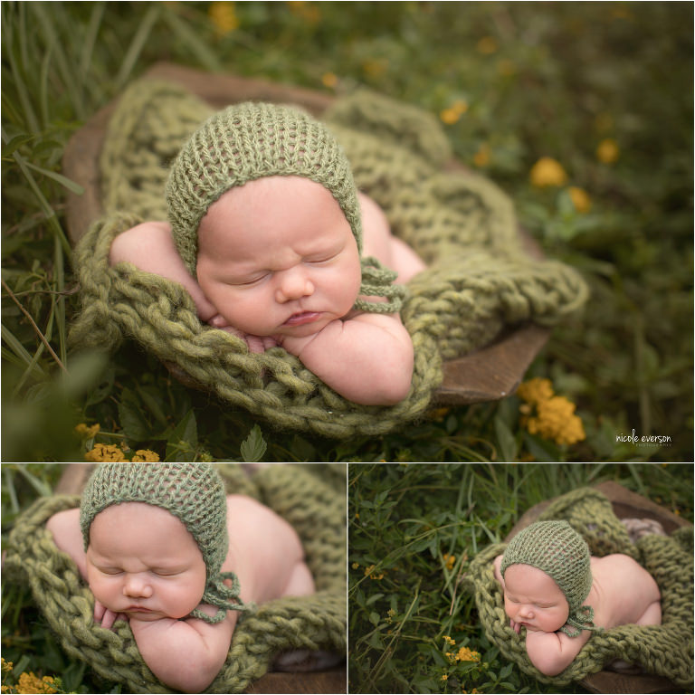 outside newborn photography surrounded by yellow flowers in Crestview