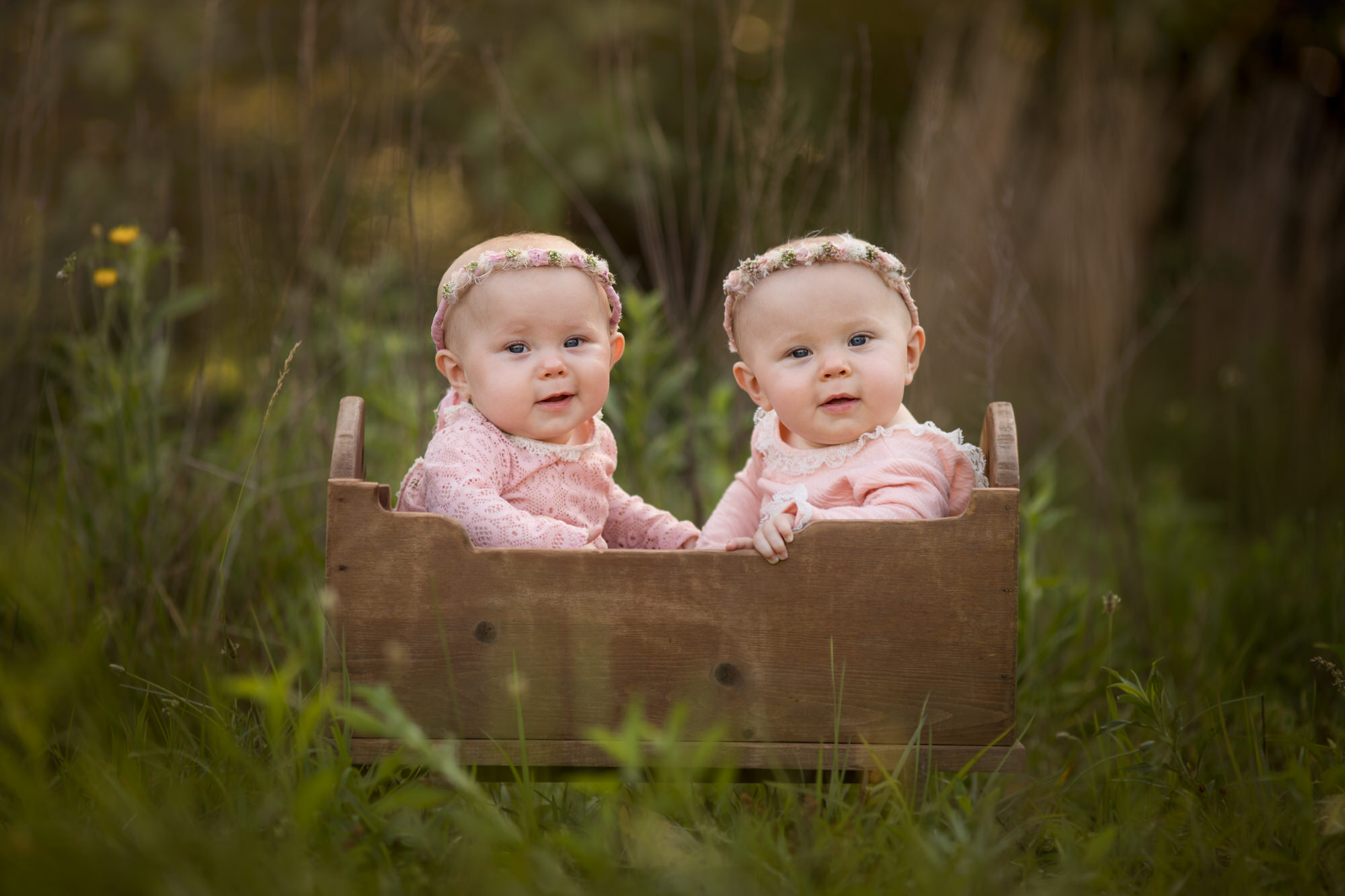 portrait of twin baby girls sitting in a vintage cradle in Destin